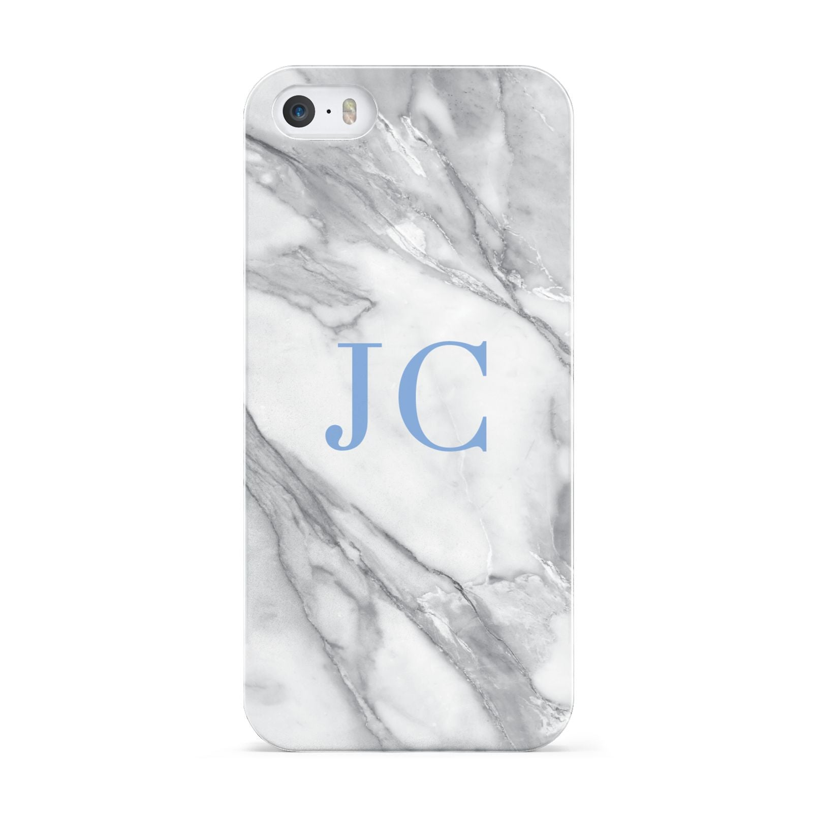 Grey Marble Blue Initials Apple iPhone 5 Case