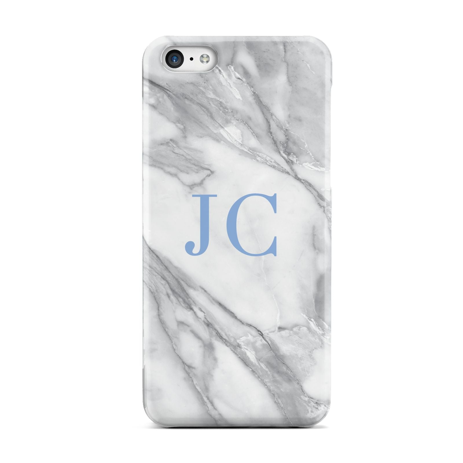 Grey Marble Blue Initials Apple iPhone 5c Case