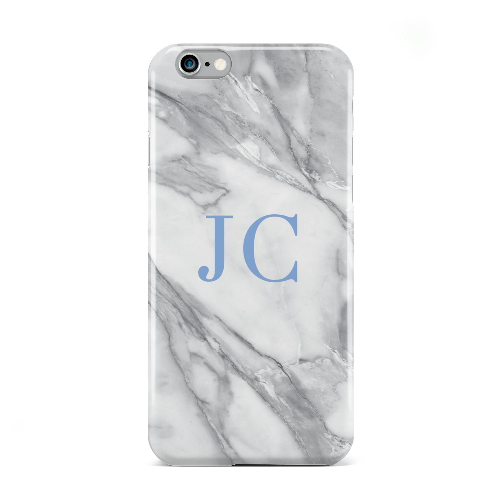 Grey Marble Blue Initials Apple iPhone 6 Case