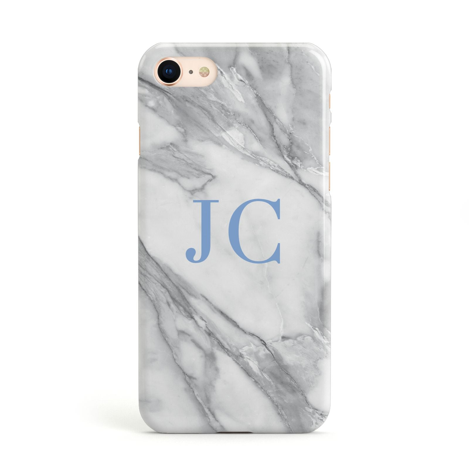 Grey Marble Blue Initials Apple iPhone Case