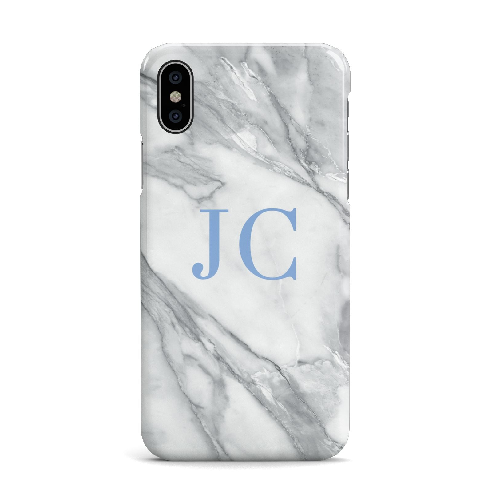 Grey Marble Blue Initials Apple iPhone X Case