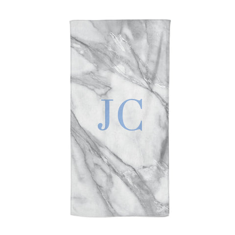 Grey Marble Blue Initials Beach Towel