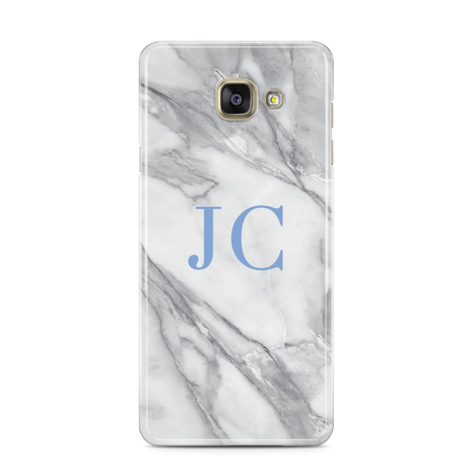 Grey Marble Blue Initials Samsung Galaxy A3 2016 Case on gold phone