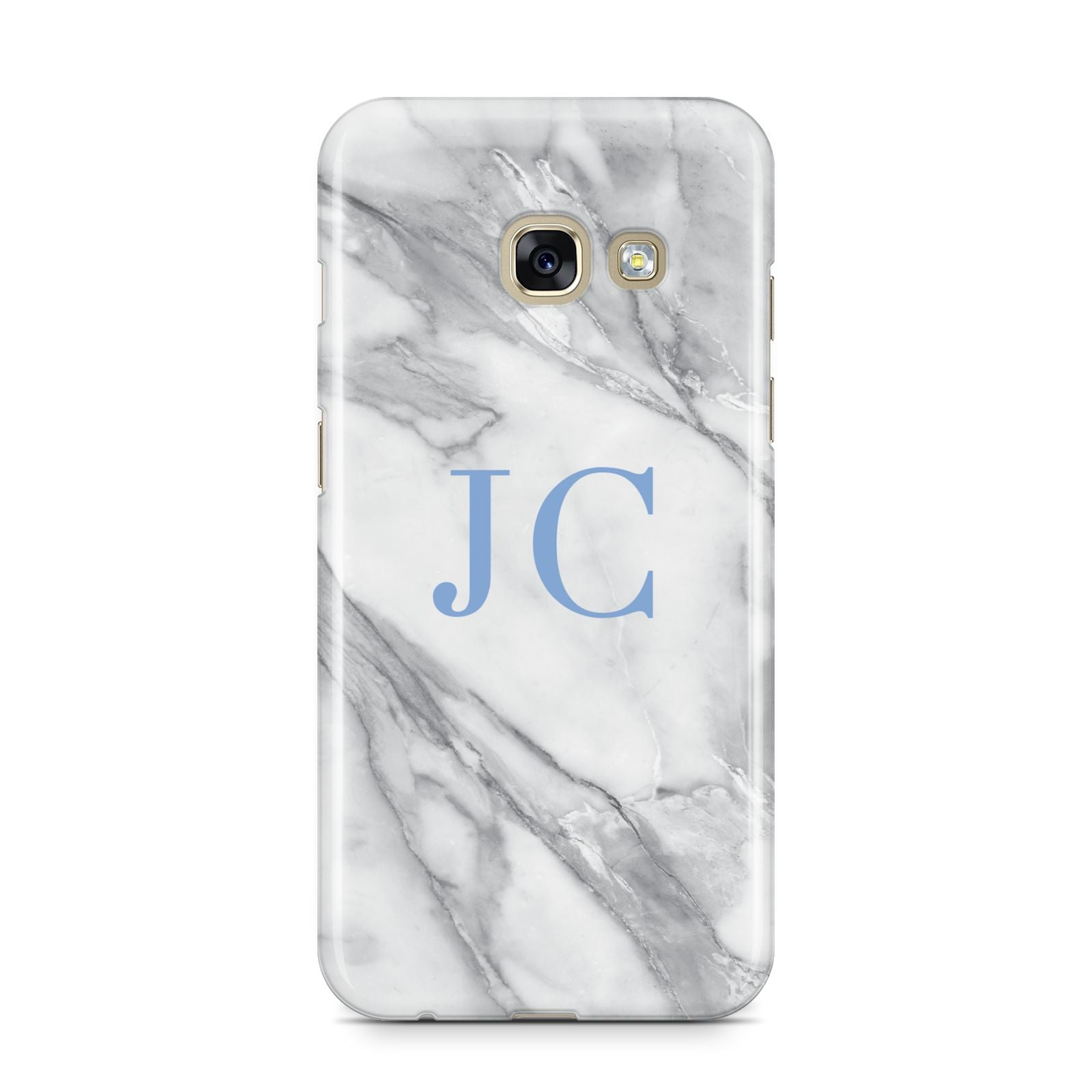 Grey Marble Blue Initials Samsung Galaxy A3 2017 Case on gold phone