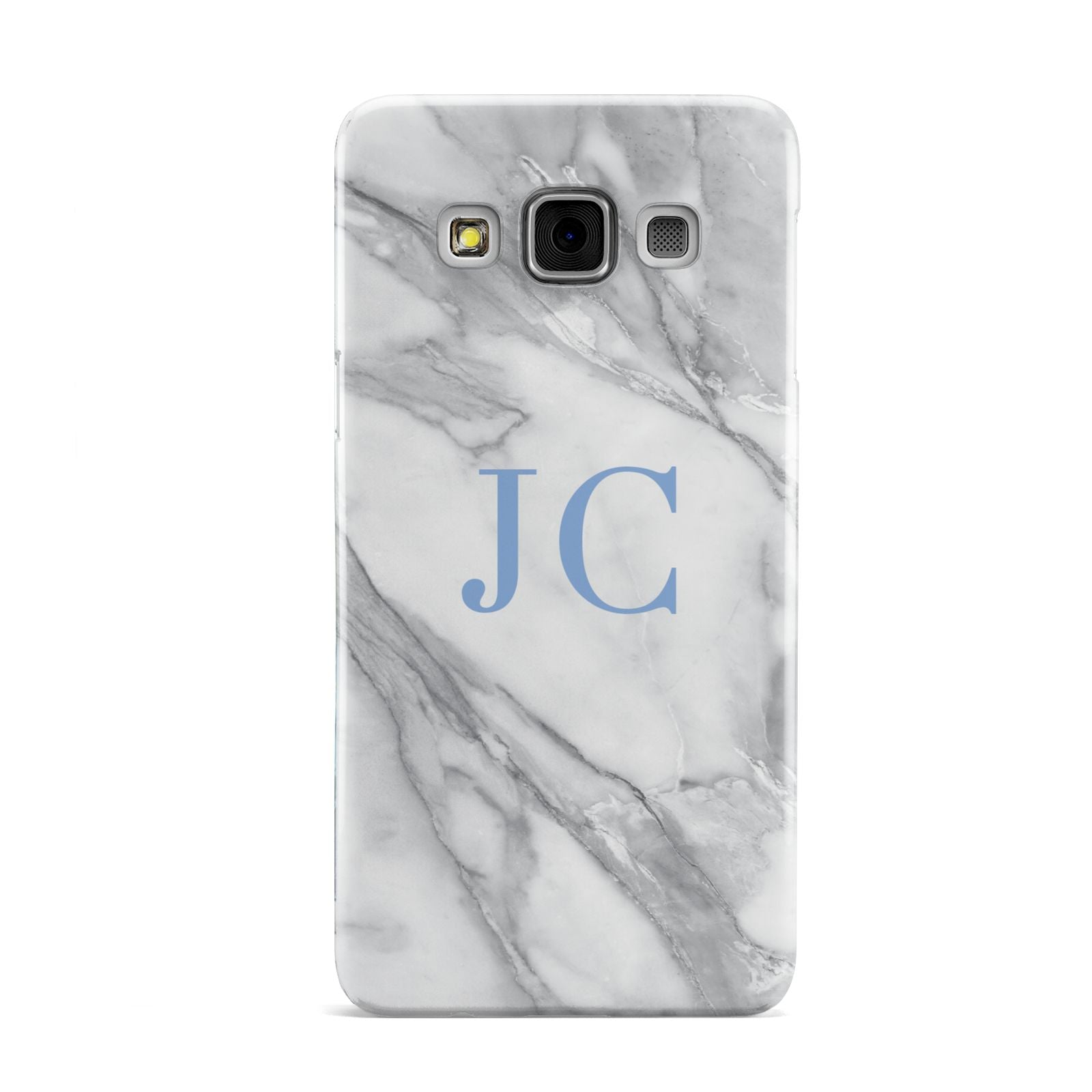 Grey Marble Blue Initials Samsung Galaxy A3 Case