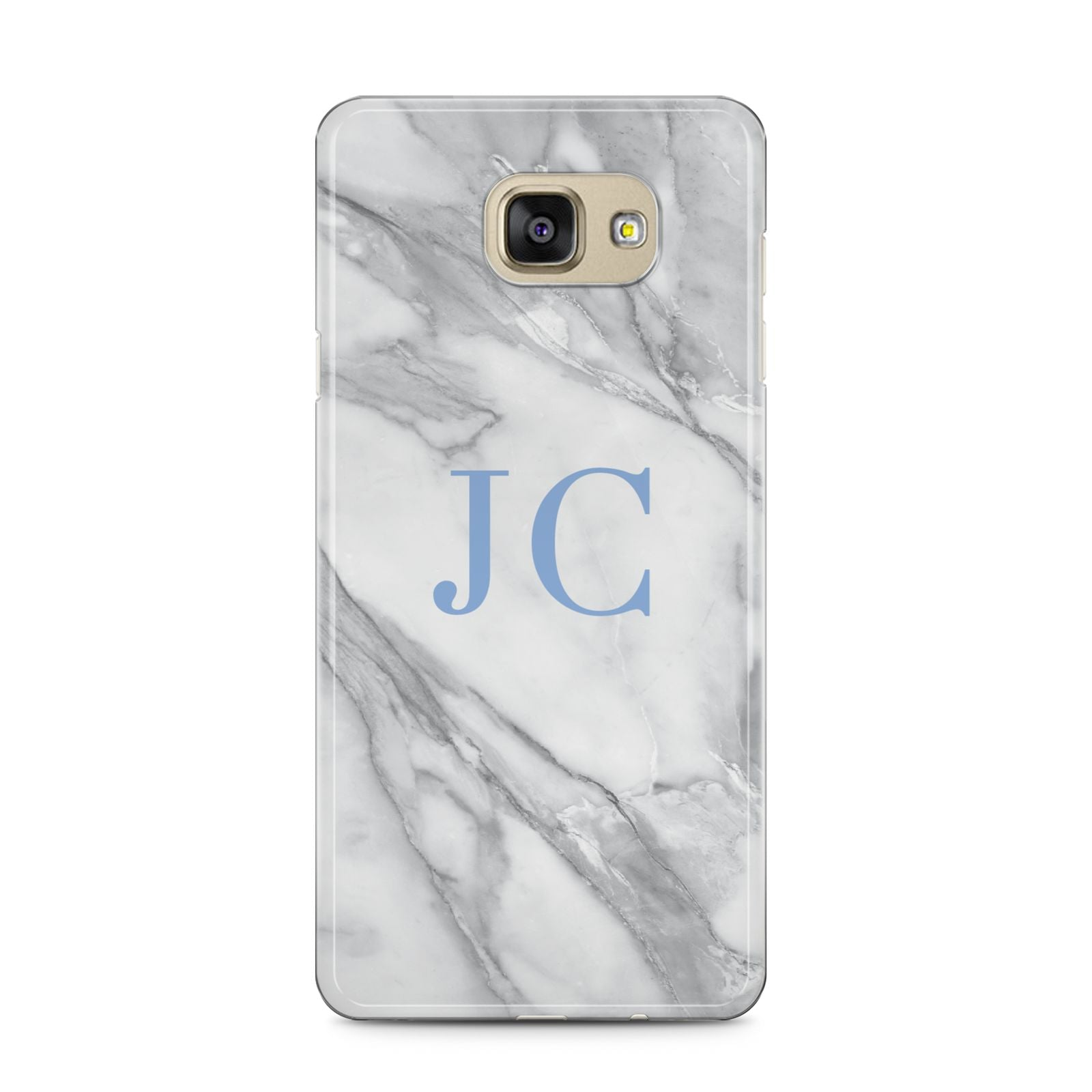 Grey Marble Blue Initials Samsung Galaxy A5 2016 Case on gold phone