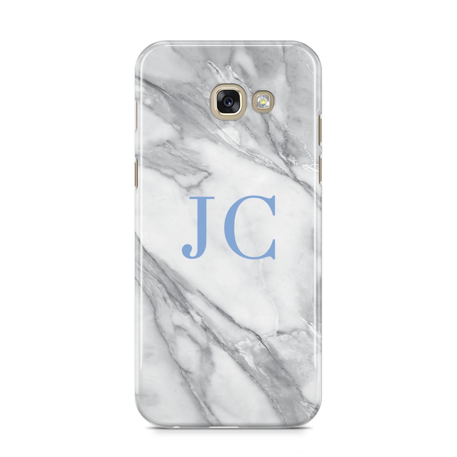 Grey Marble Blue Initials Samsung Galaxy A5 2017 Case on gold phone