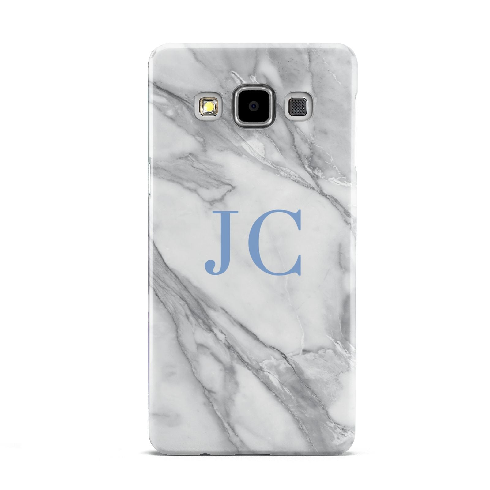 Grey Marble Blue Initials Samsung Galaxy A5 Case
