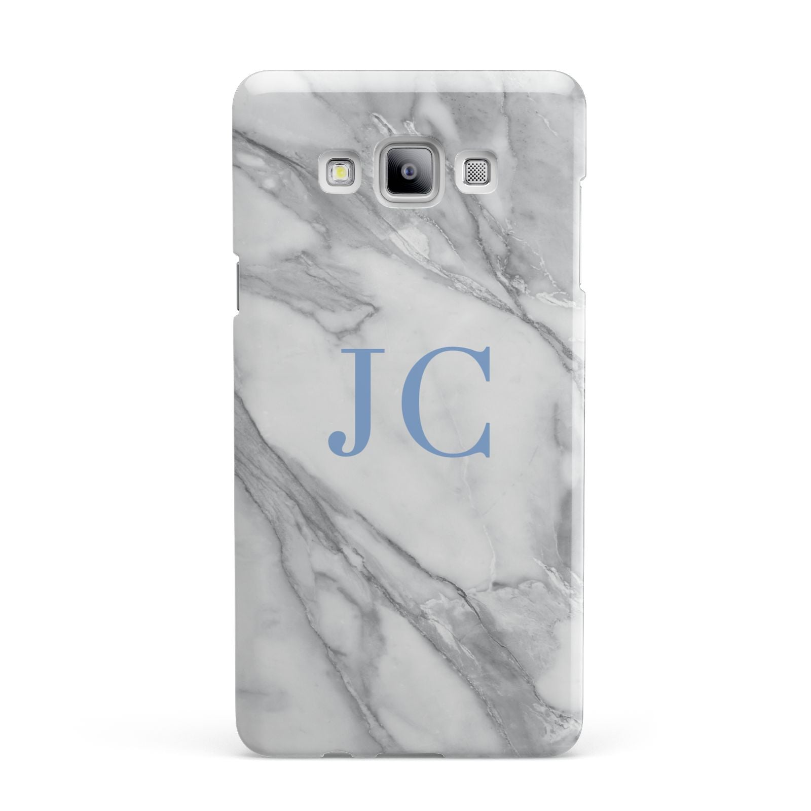 Grey Marble Blue Initials Samsung Galaxy A7 2015 Case