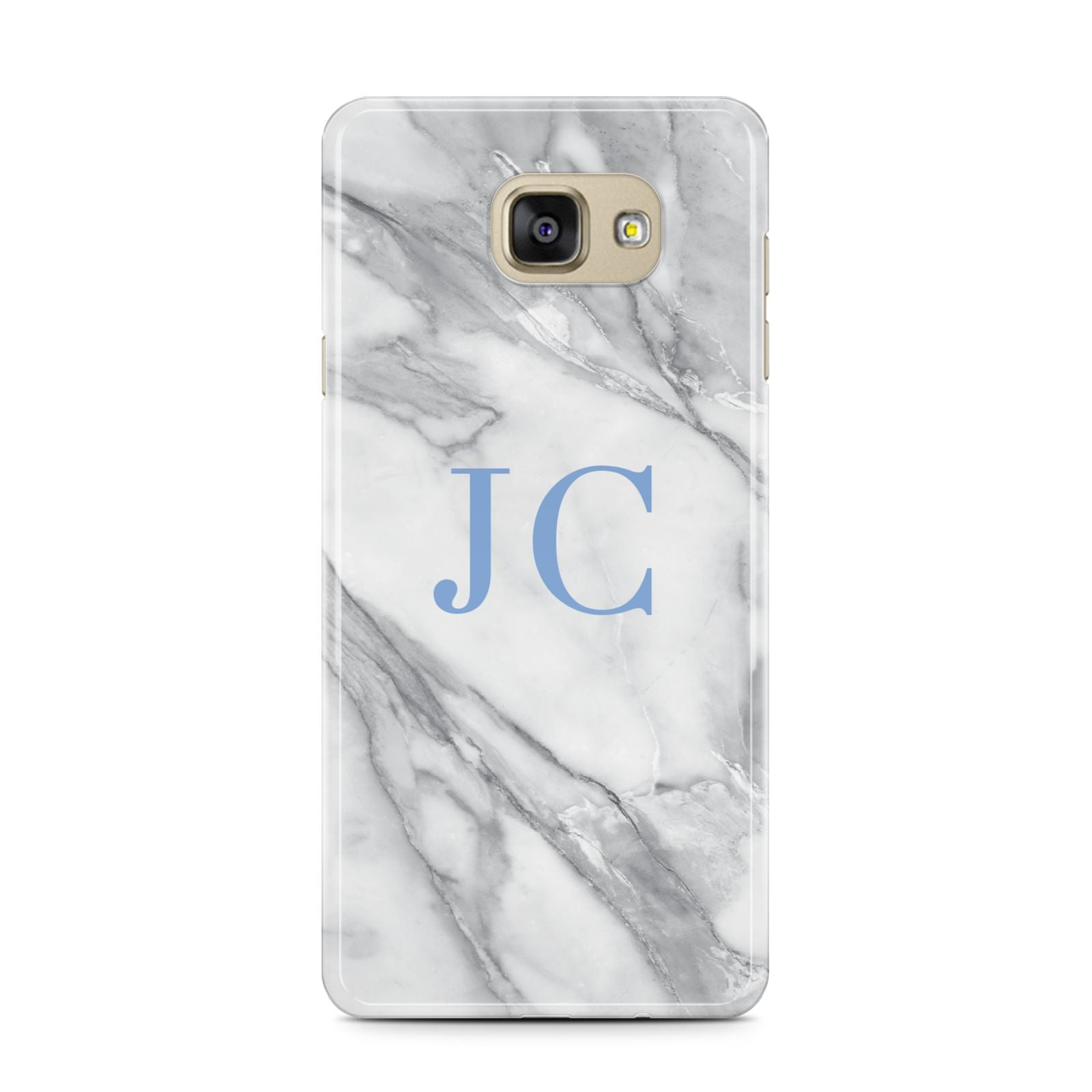 Grey Marble Blue Initials Samsung Galaxy A7 2016 Case on gold phone