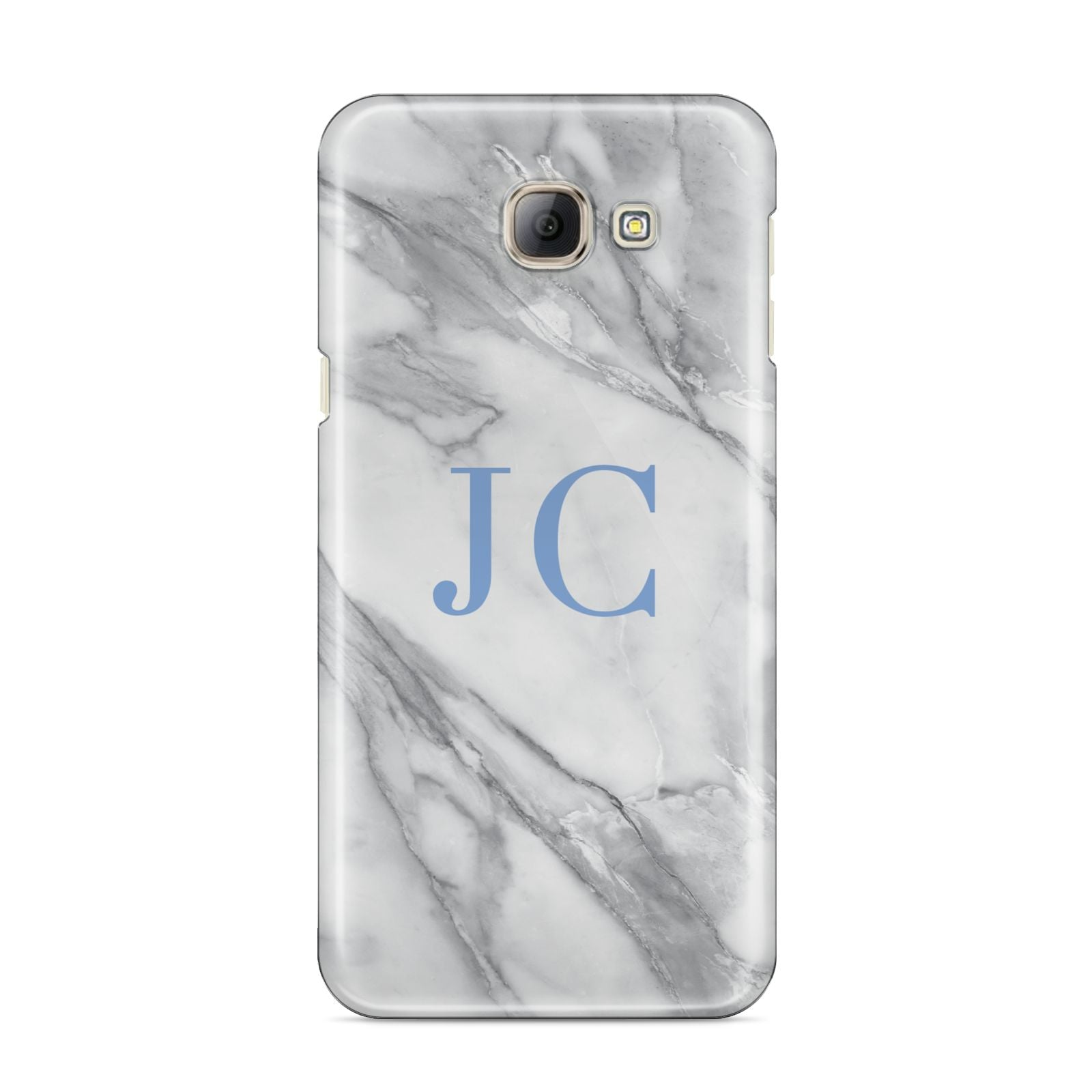 Grey Marble Blue Initials Samsung Galaxy A8 2016 Case