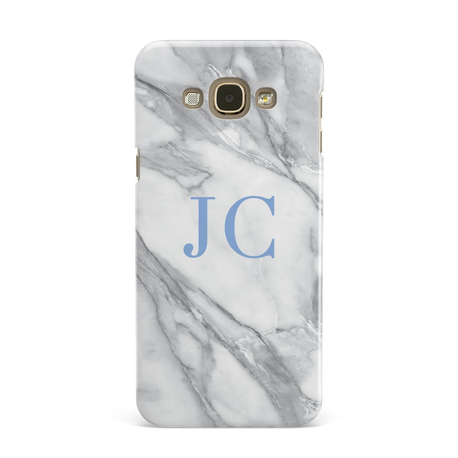 Grey Marble Blue Initials Samsung Galaxy A8 Case