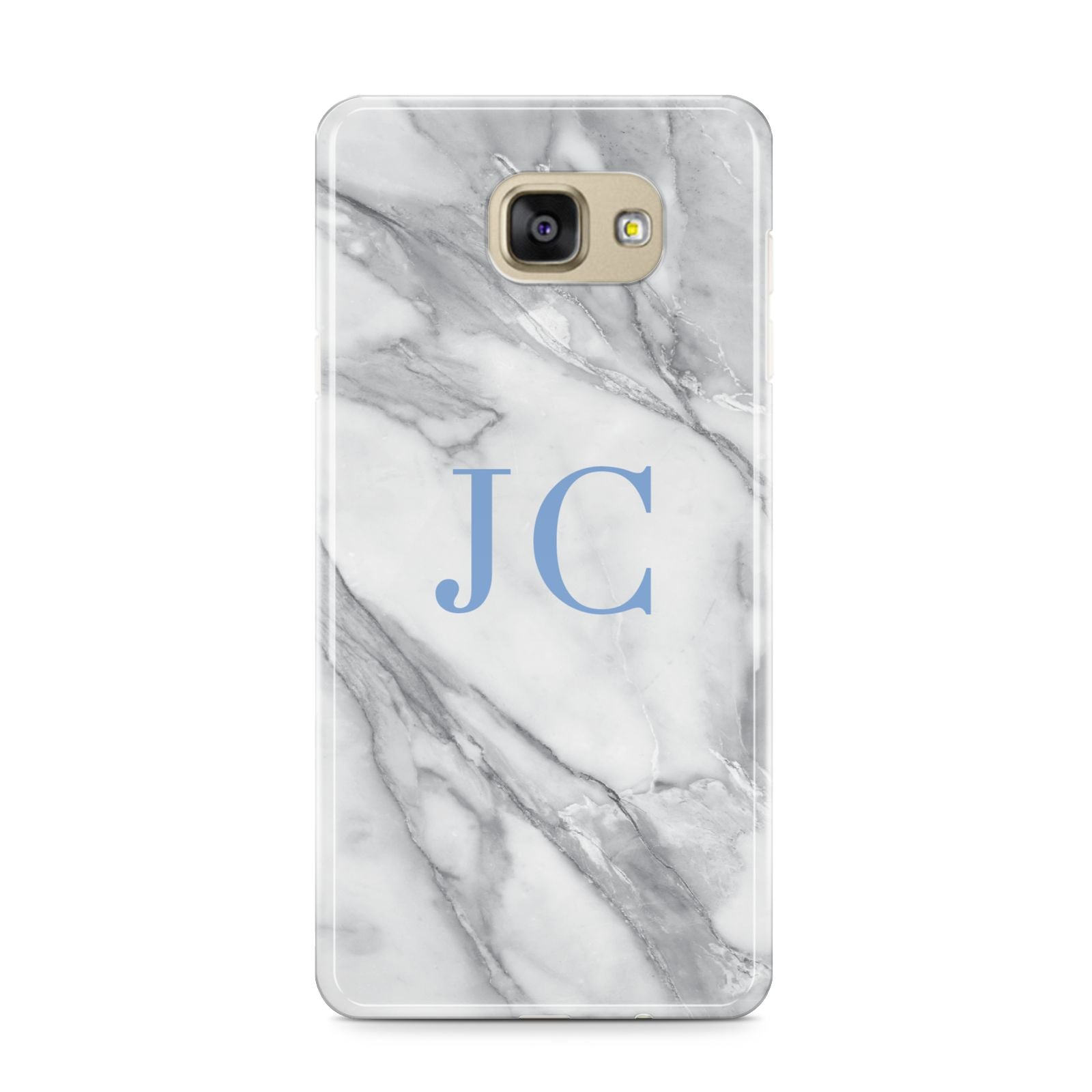 Grey Marble Blue Initials Samsung Galaxy A9 2016 Case on gold phone