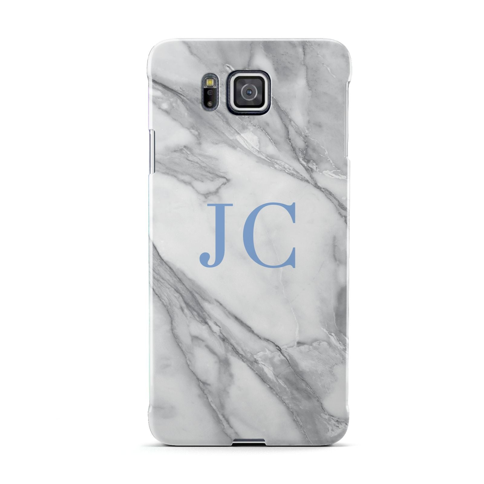 Grey Marble Blue Initials Samsung Galaxy Alpha Case