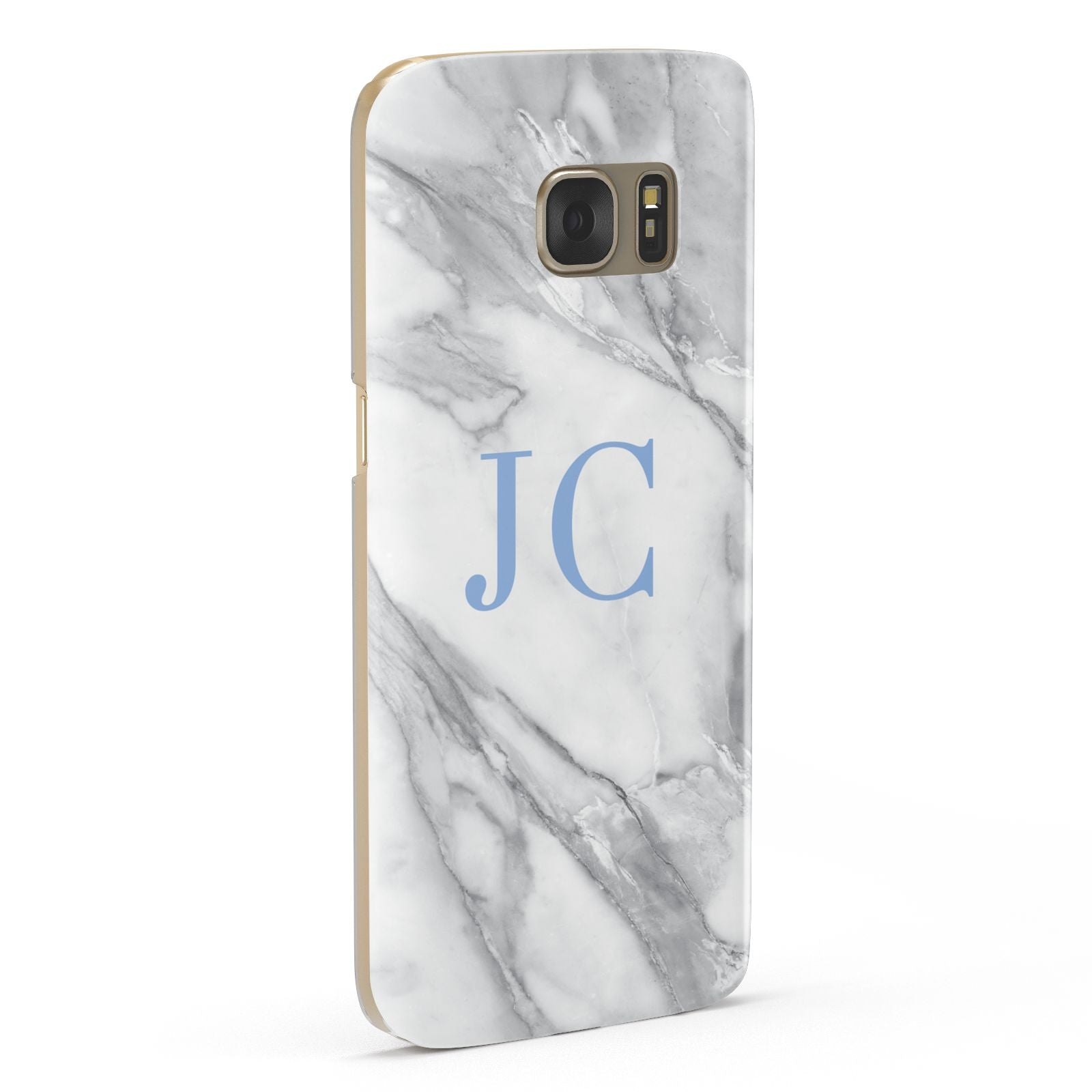 Grey Marble Blue Initials Samsung Galaxy Case Fourty Five Degrees
