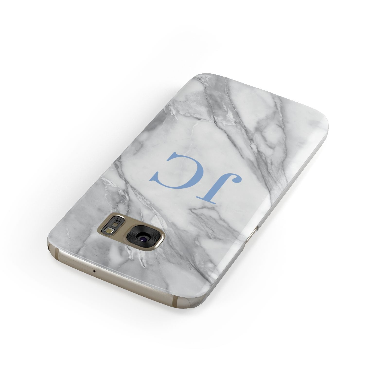 Grey Marble Blue Initials Samsung Galaxy Case Front Close Up