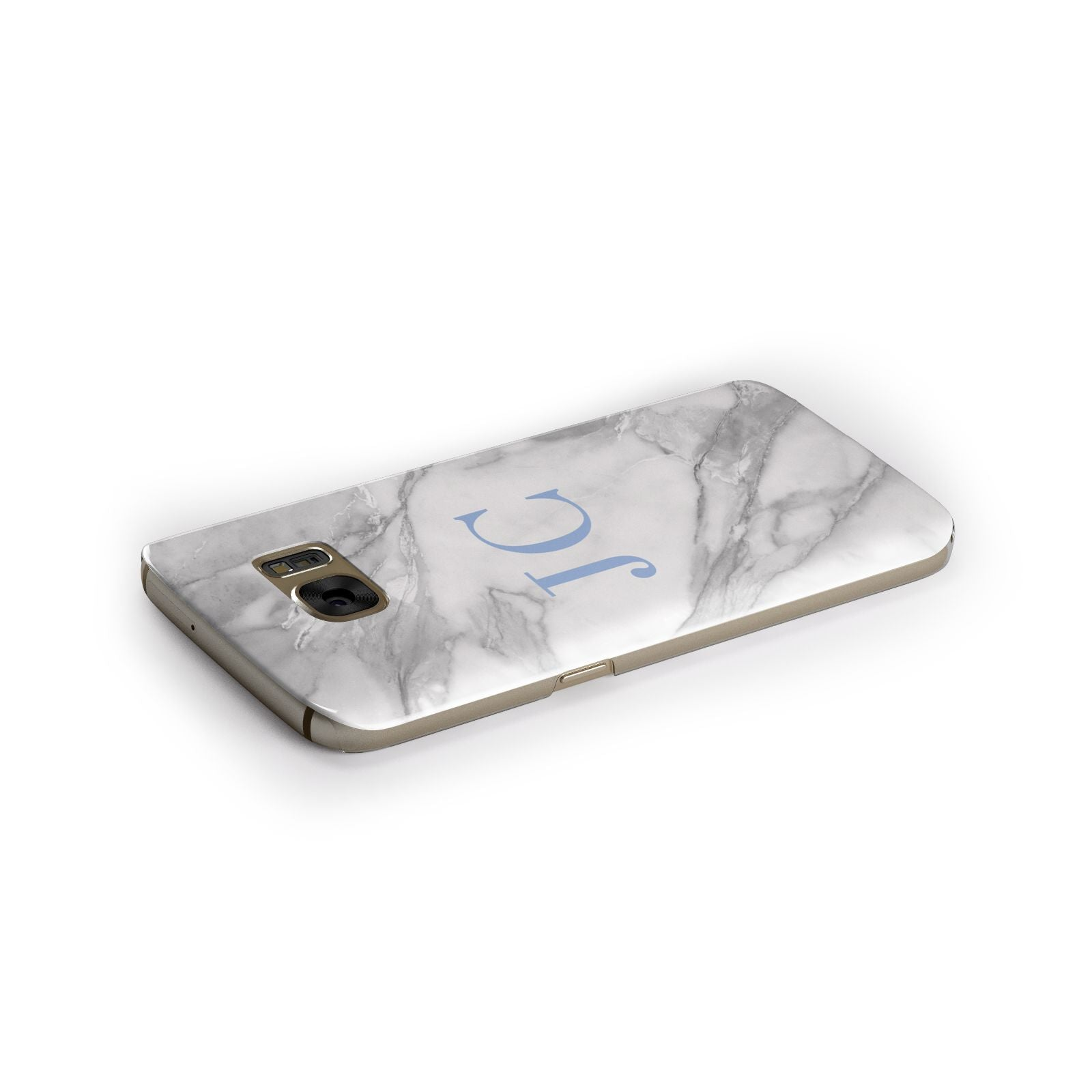 Grey Marble Blue Initials Samsung Galaxy Case Side Close Up