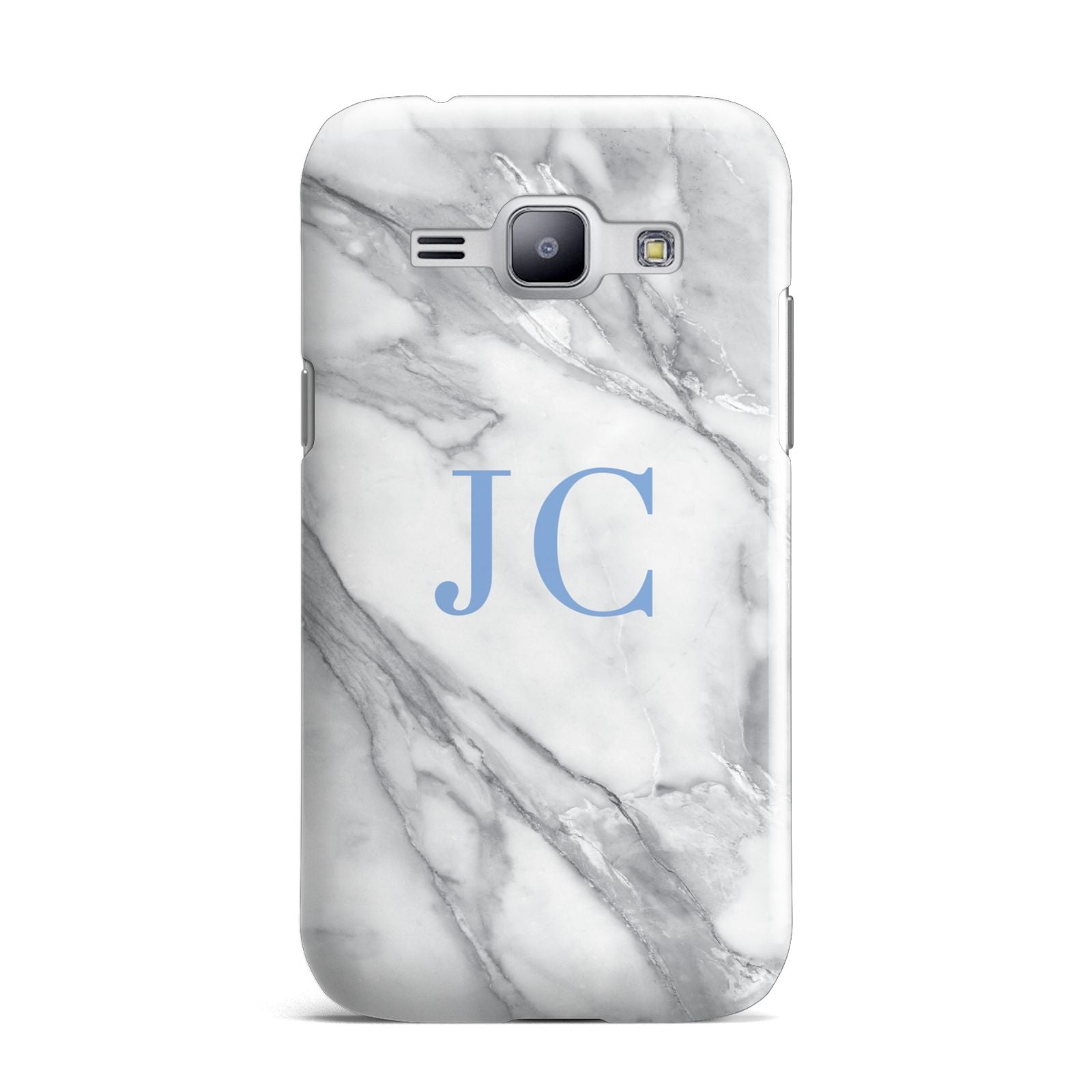 Grey Marble Blue Initials Samsung Galaxy J1 2015 Case