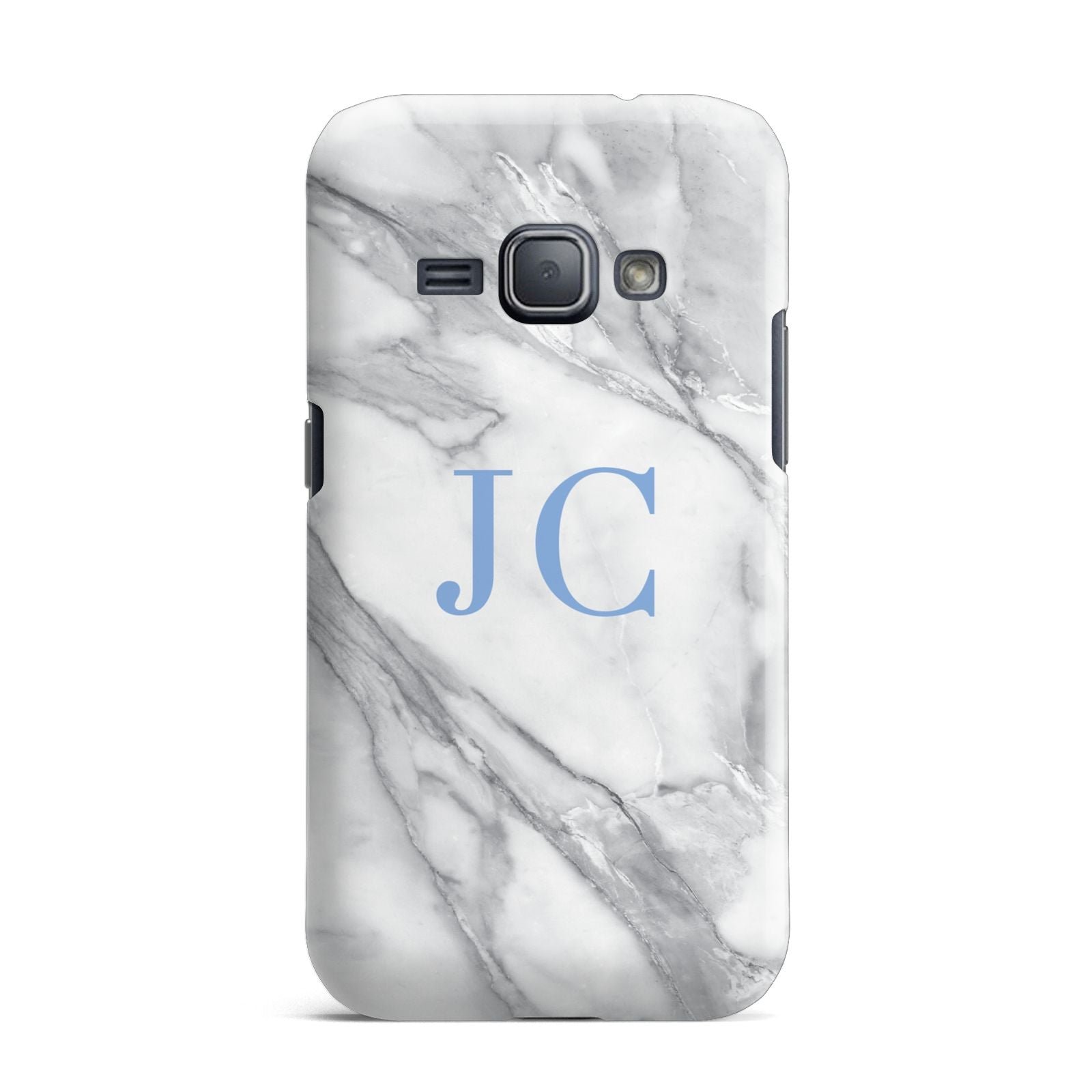 Grey Marble Blue Initials Samsung Galaxy J1 2016 Case