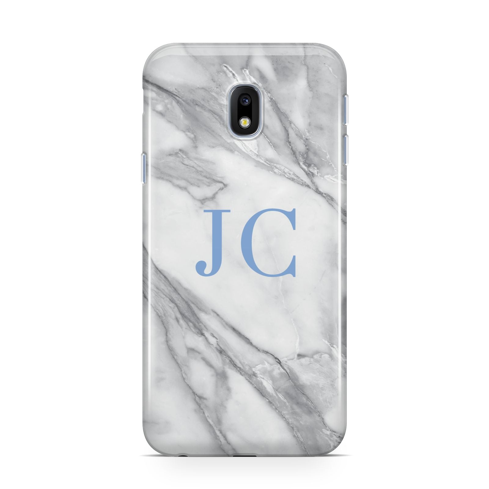 Grey Marble Blue Initials Samsung Galaxy J3 2017 Case