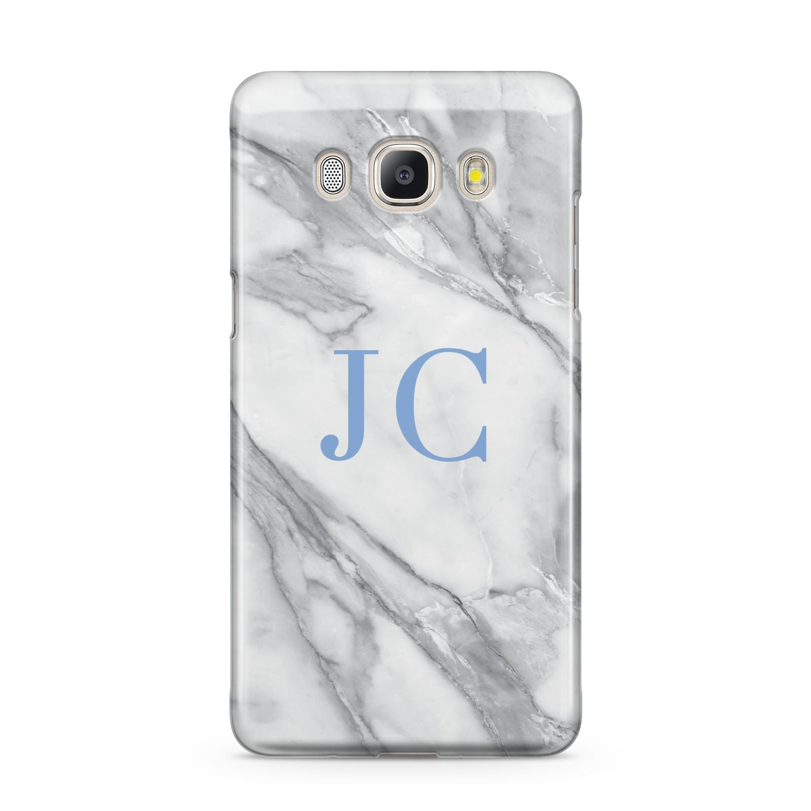 Grey Marble Blue Initials Samsung Galaxy J5 2016 Case