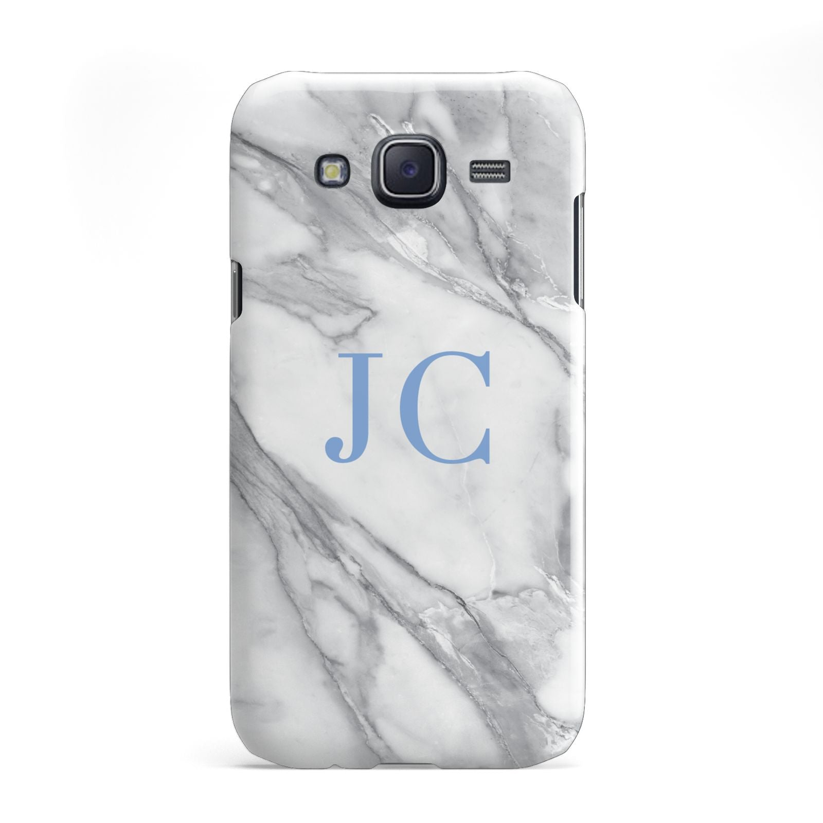 Grey Marble Blue Initials Samsung Galaxy J5 Case