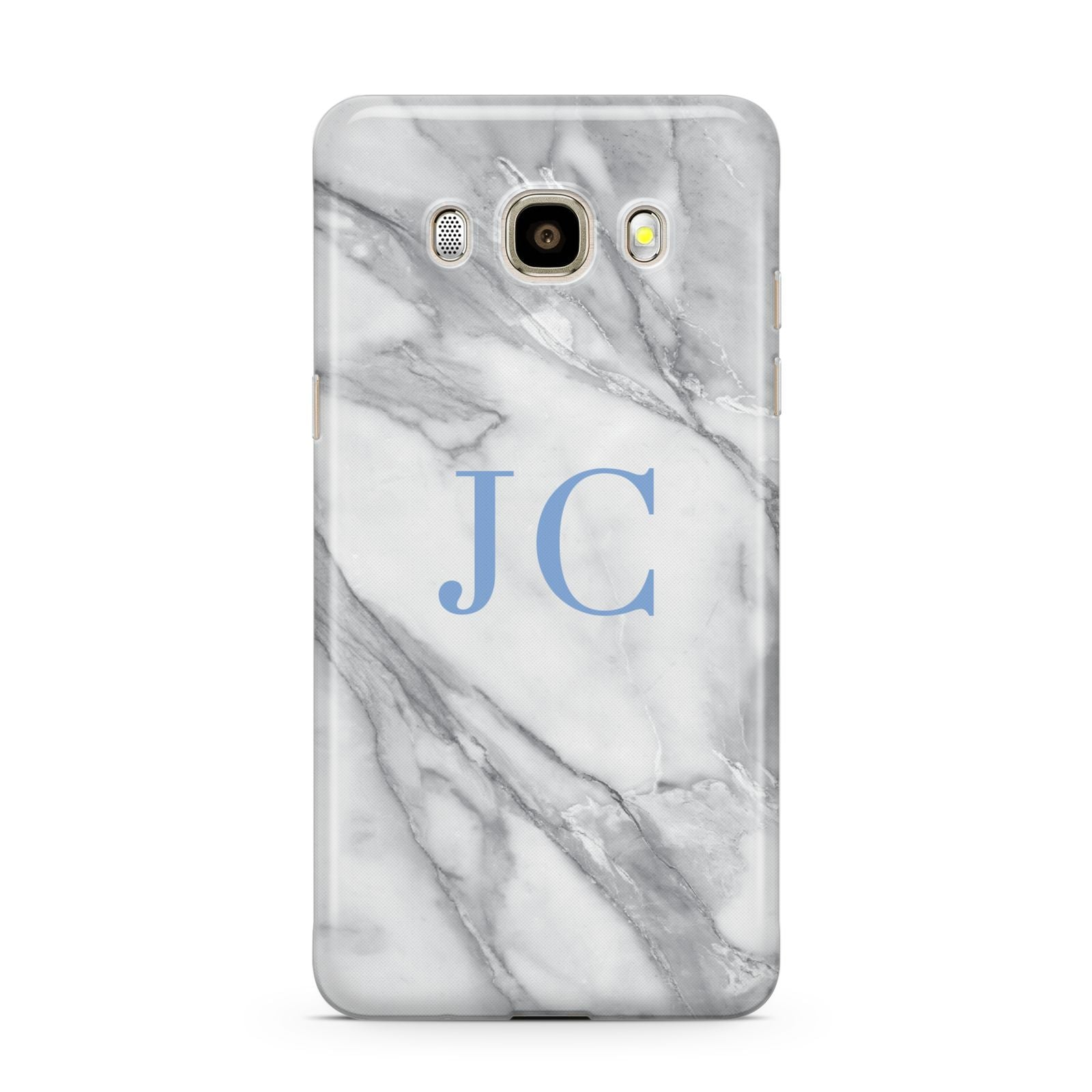 Grey Marble Blue Initials Samsung Galaxy J7 2016 Case on gold phone