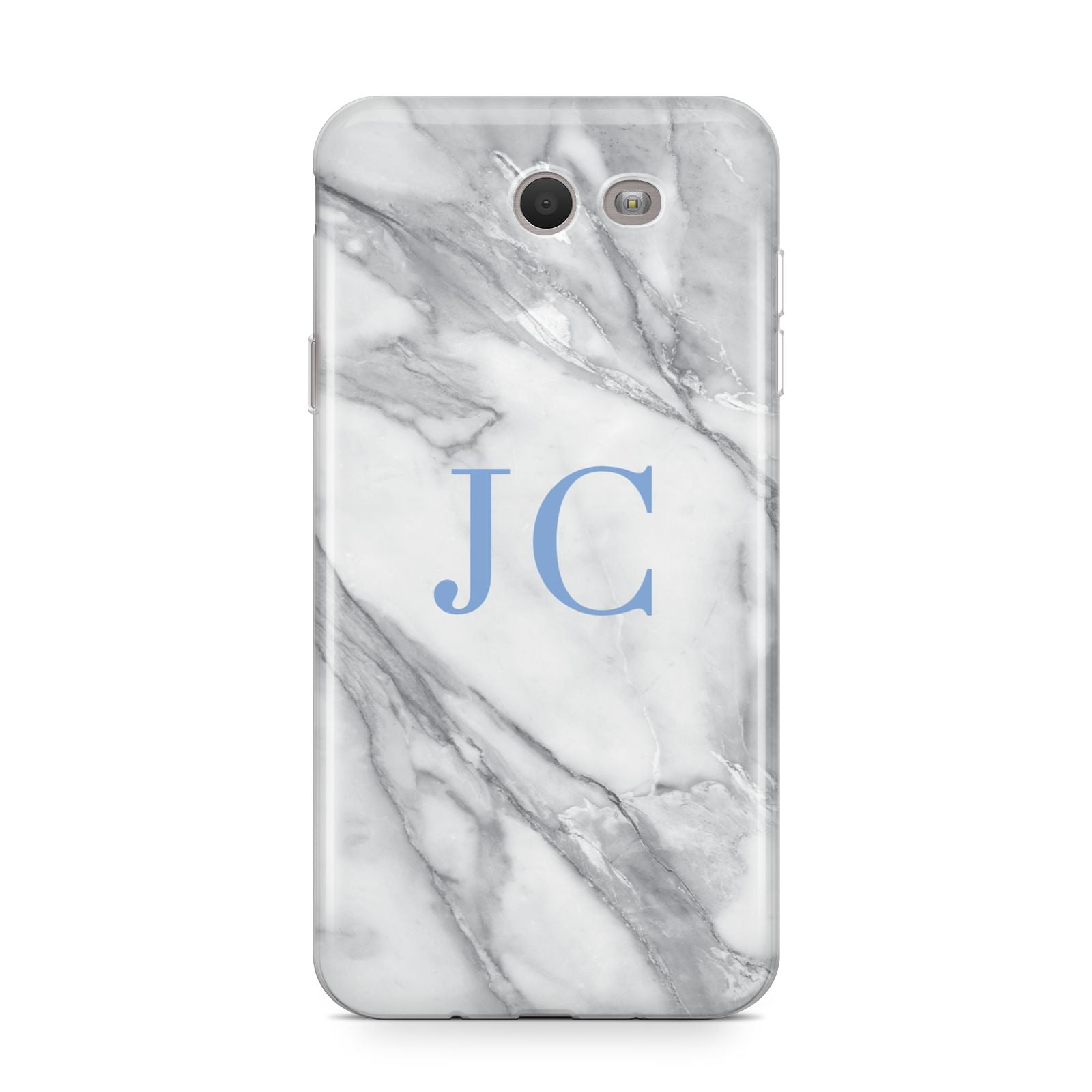 Grey Marble Blue Initials Samsung Galaxy J7 2017 Case