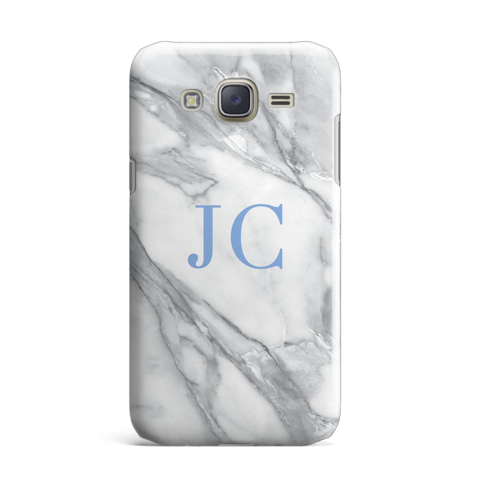 Grey Marble Blue Initials Samsung Galaxy J7 Case