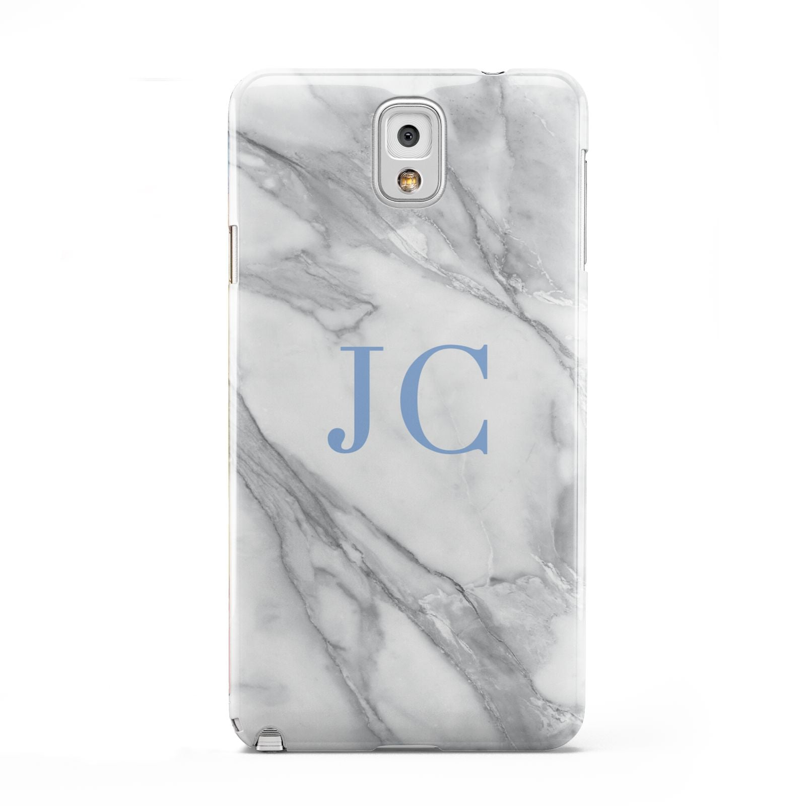 Grey Marble Blue Initials Samsung Galaxy Note 3 Case