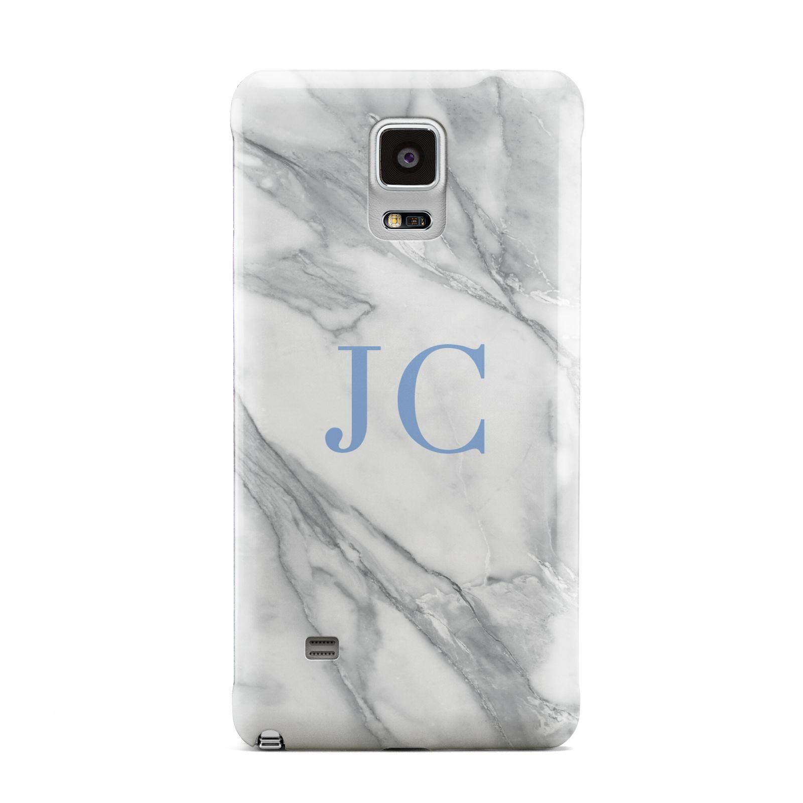 Grey Marble Blue Initials Samsung Galaxy Note 4 Case