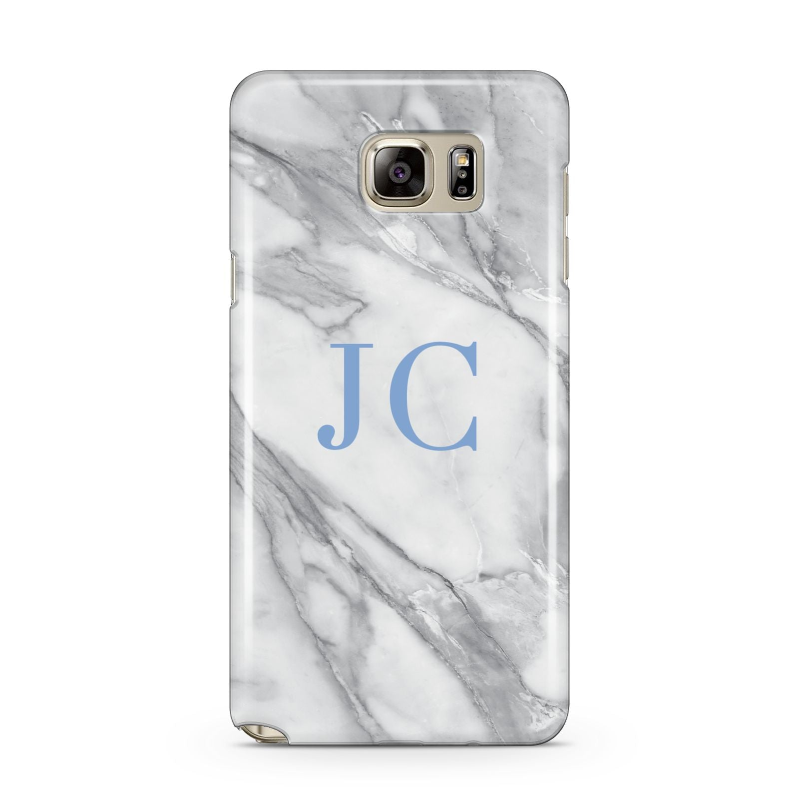 Grey Marble Blue Initials Samsung Galaxy Note 5 Case