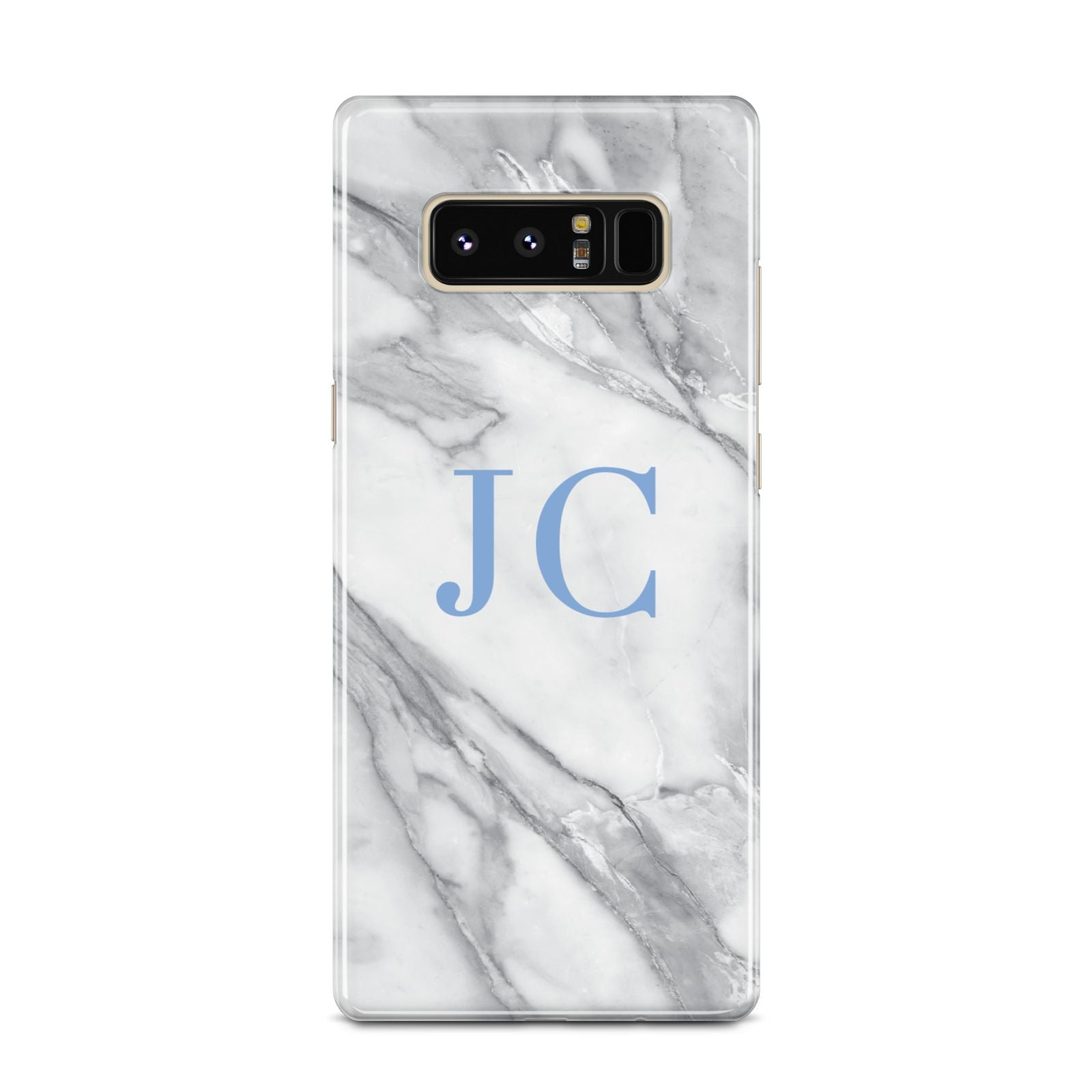 Grey Marble Blue Initials Samsung Galaxy Note 8 Case