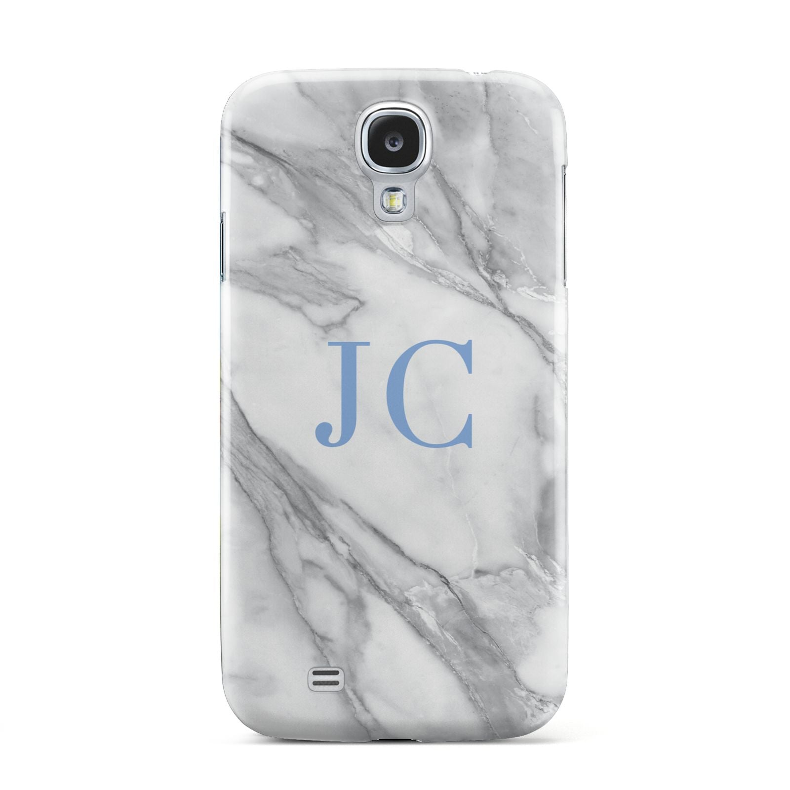 Grey Marble Blue Initials Samsung Galaxy S4 Case