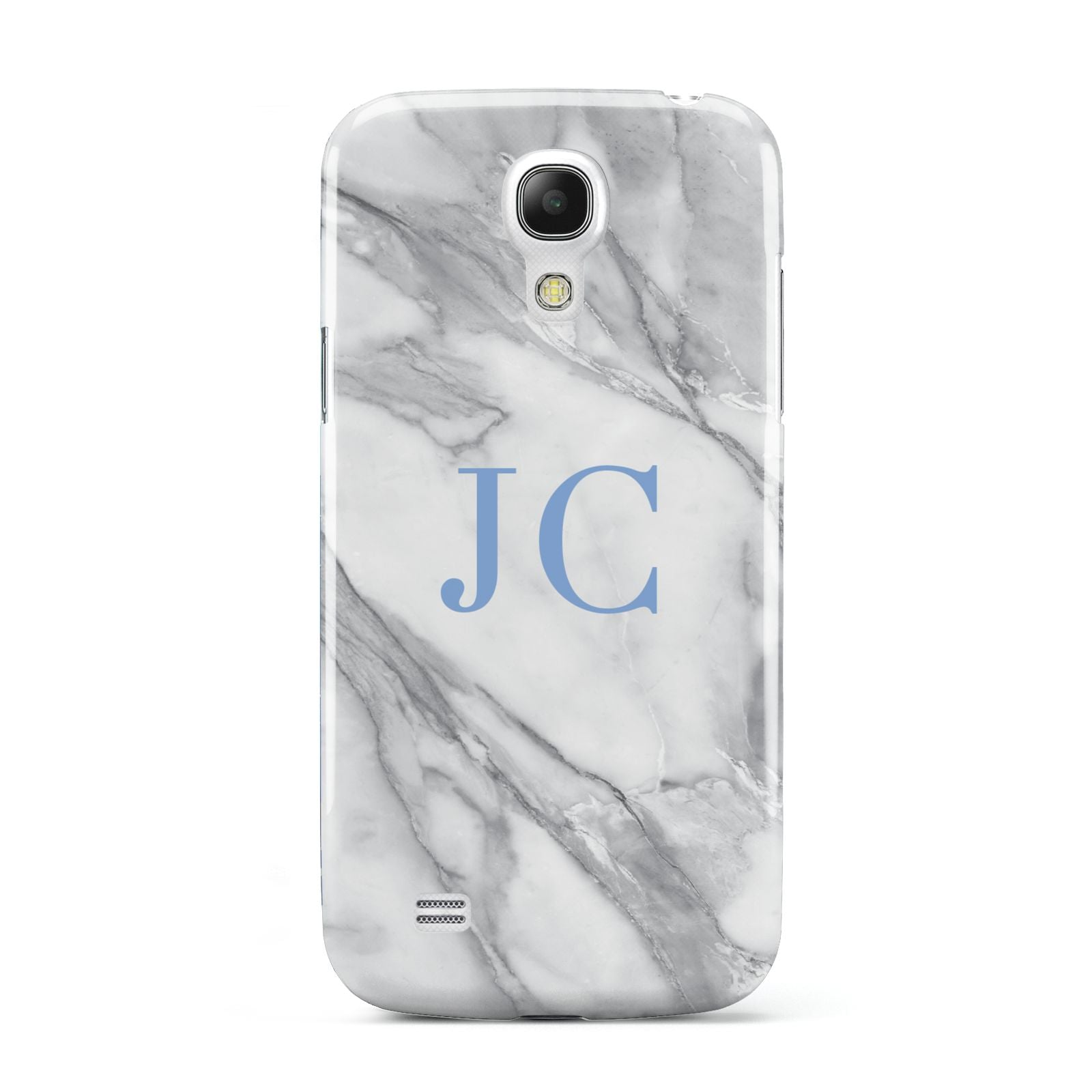 Grey Marble Blue Initials Samsung Galaxy S4 Mini Case