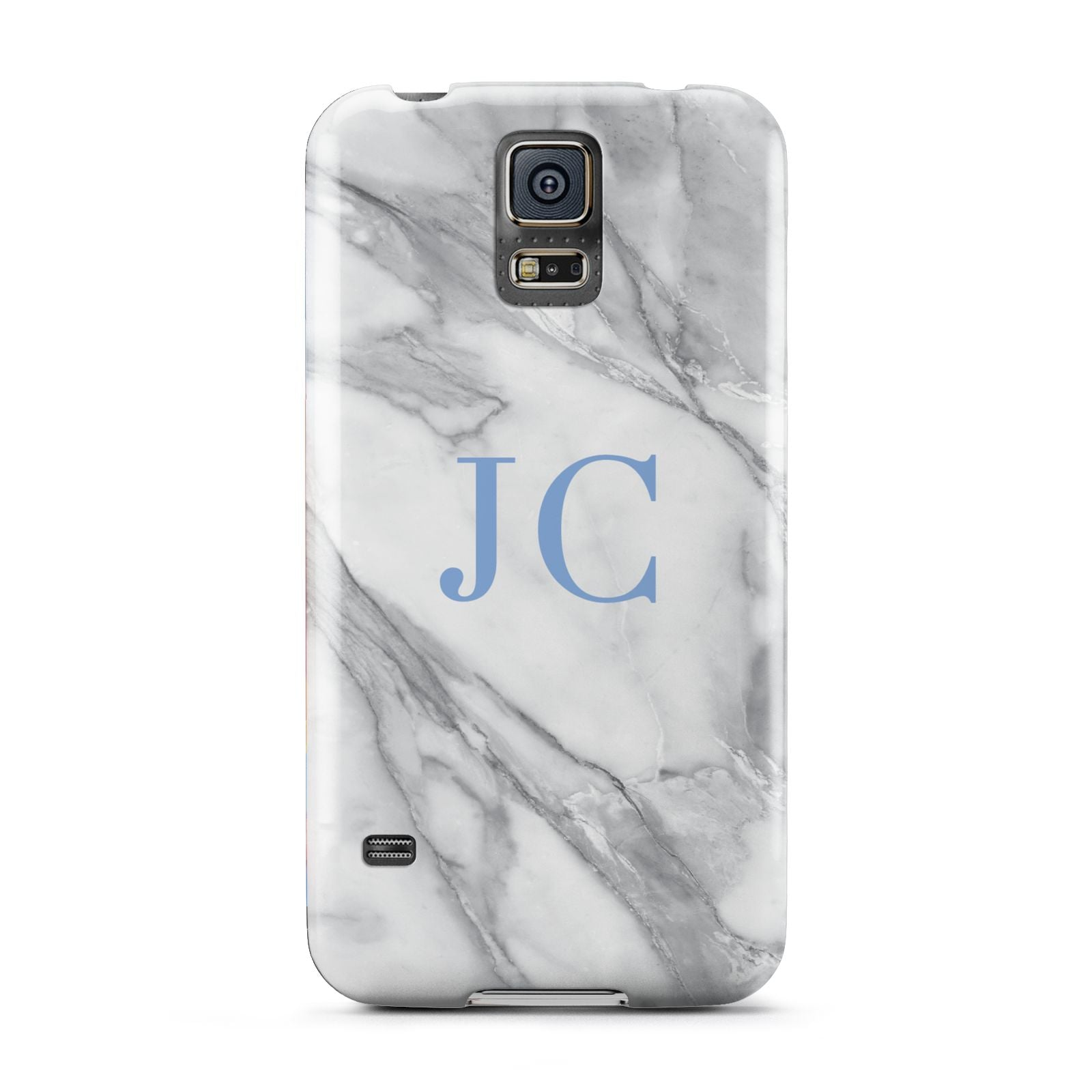 Grey Marble Blue Initials Samsung Galaxy S5 Case