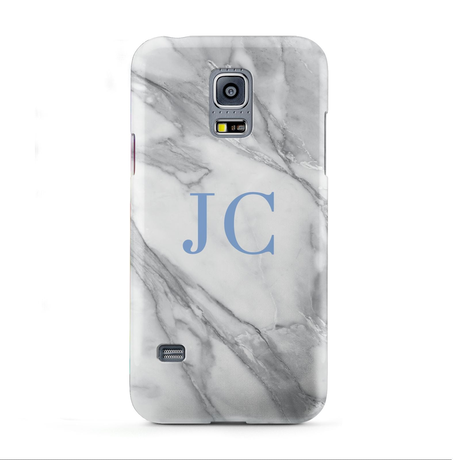 Grey Marble Blue Initials Samsung Galaxy S5 Mini Case