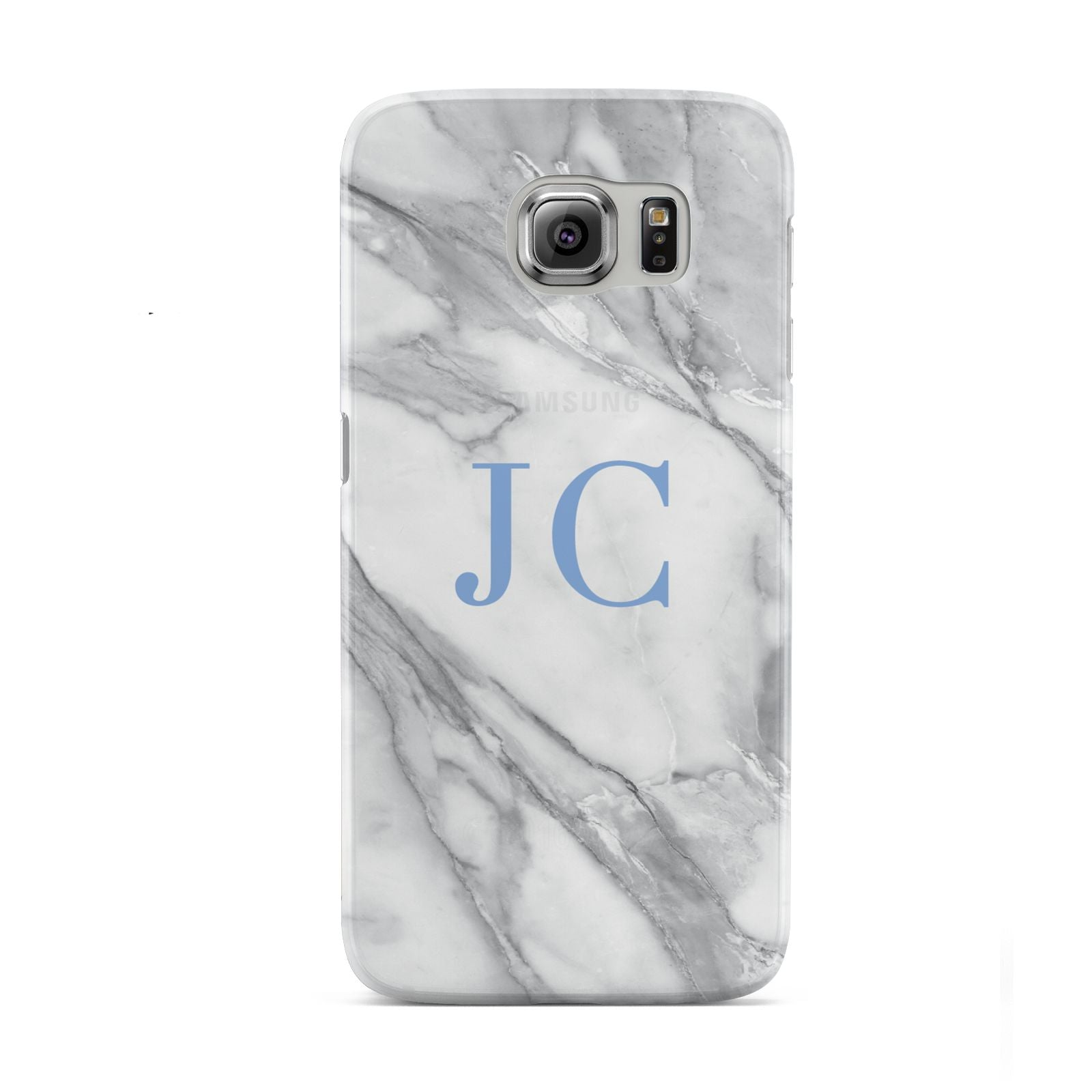 Grey Marble Blue Initials Samsung Galaxy S6 Case