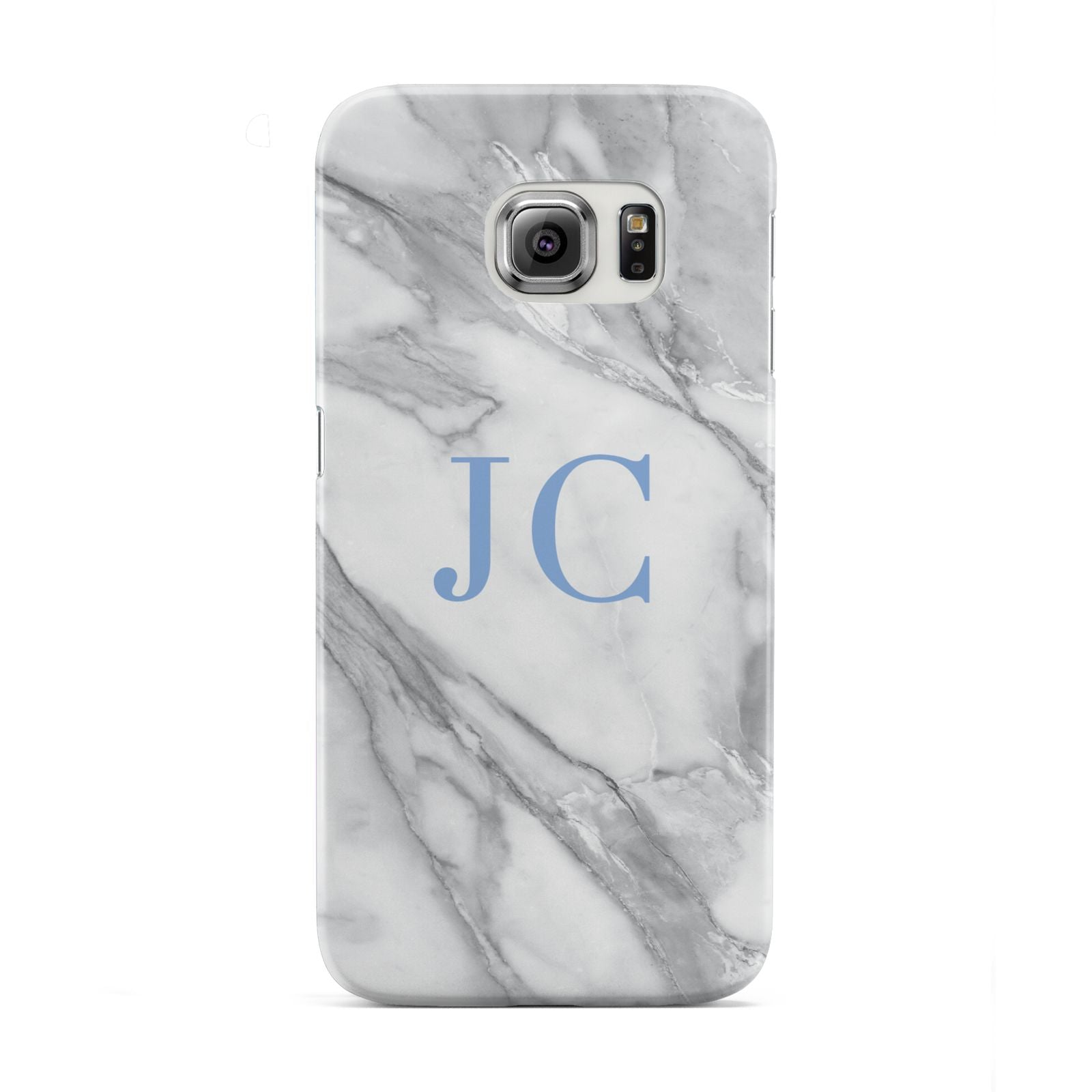 Grey Marble Blue Initials Samsung Galaxy S6 Edge Case