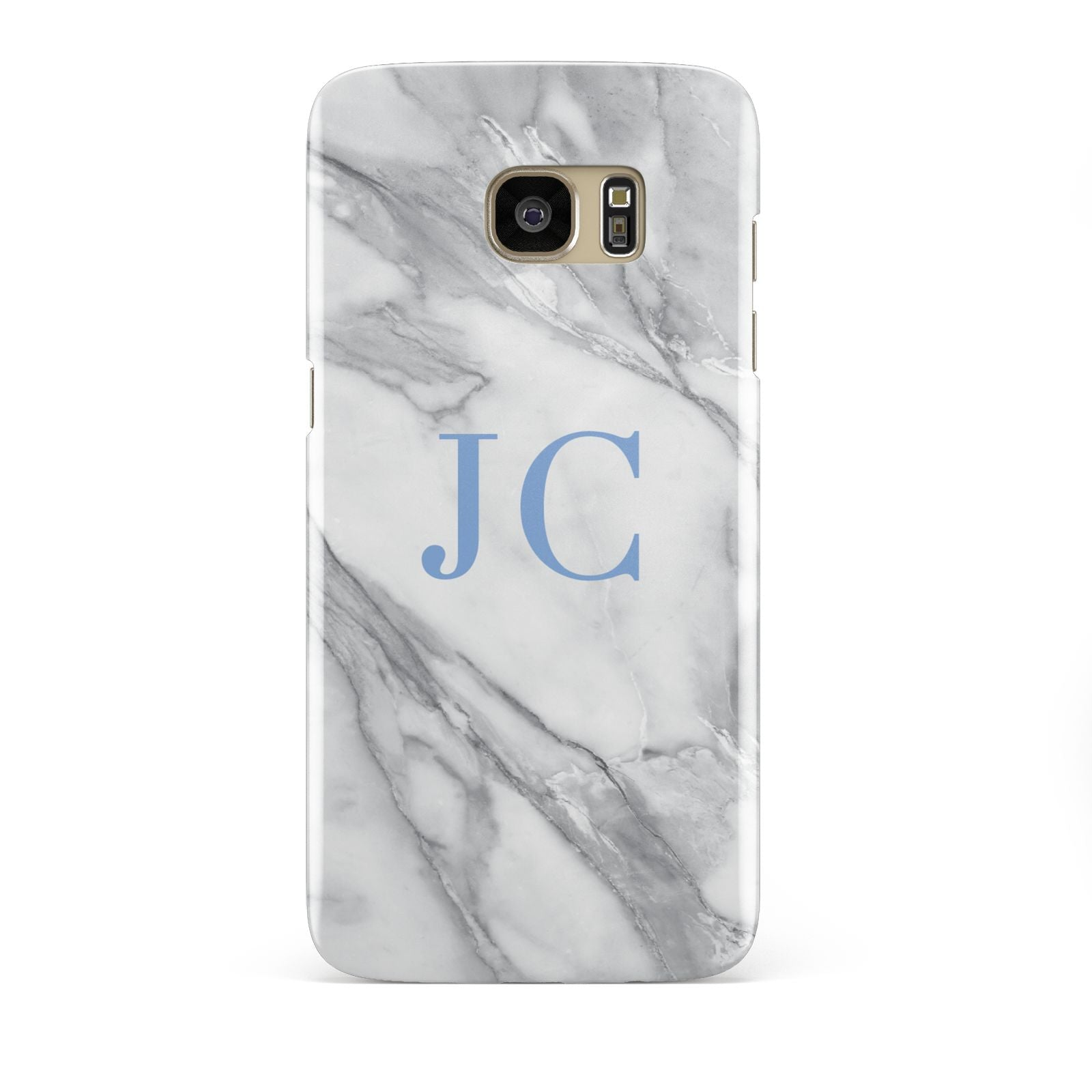 Grey Marble Blue Initials Samsung Galaxy S7 Edge Case