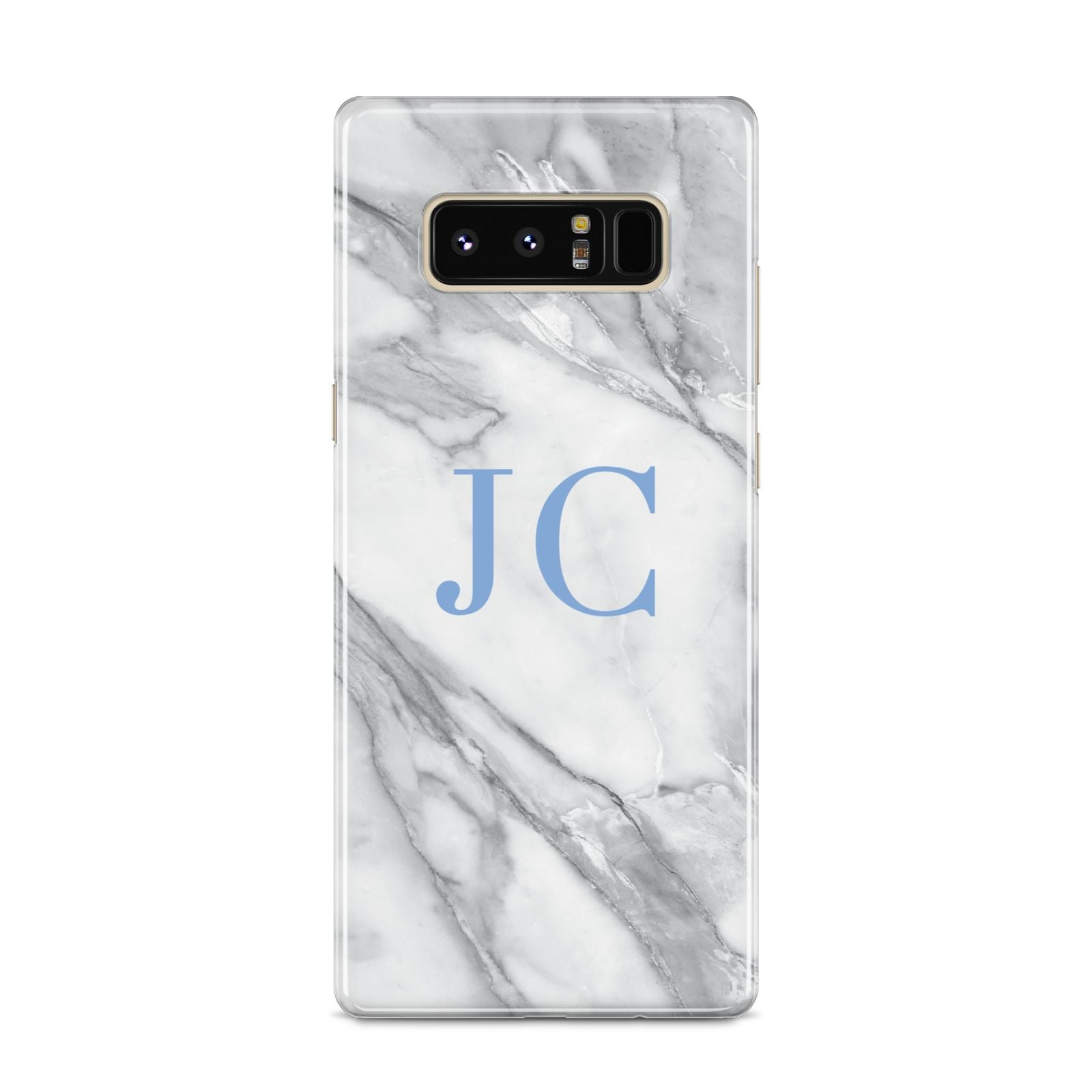 Grey Marble Blue Initials Samsung Galaxy S8 Case
