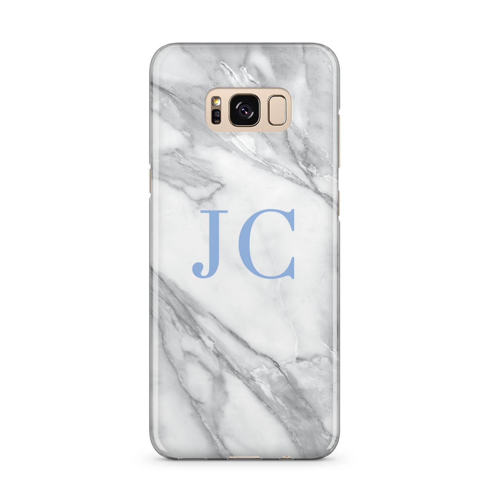 Grey Marble Blue Initials Samsung Galaxy S8 Plus Case