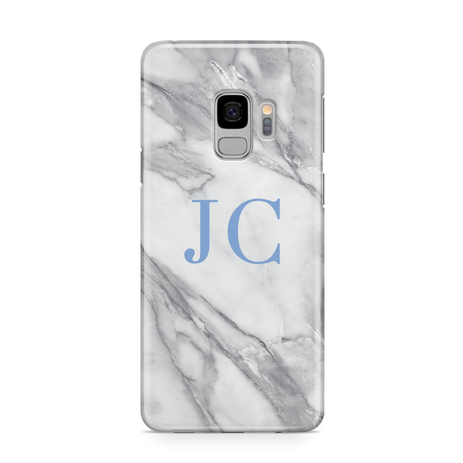 Grey Marble Blue Initials Samsung Galaxy S9 Case