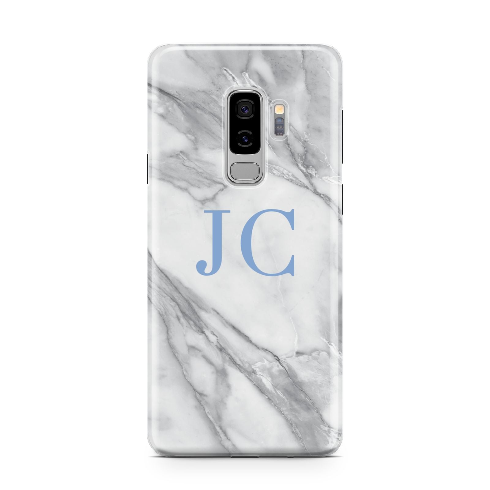 Grey Marble Blue Initials Samsung Galaxy S9 Plus Case on Silver phone