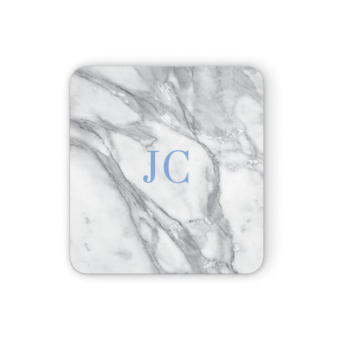 Grey Marble Blue Initials Coasters set of 4