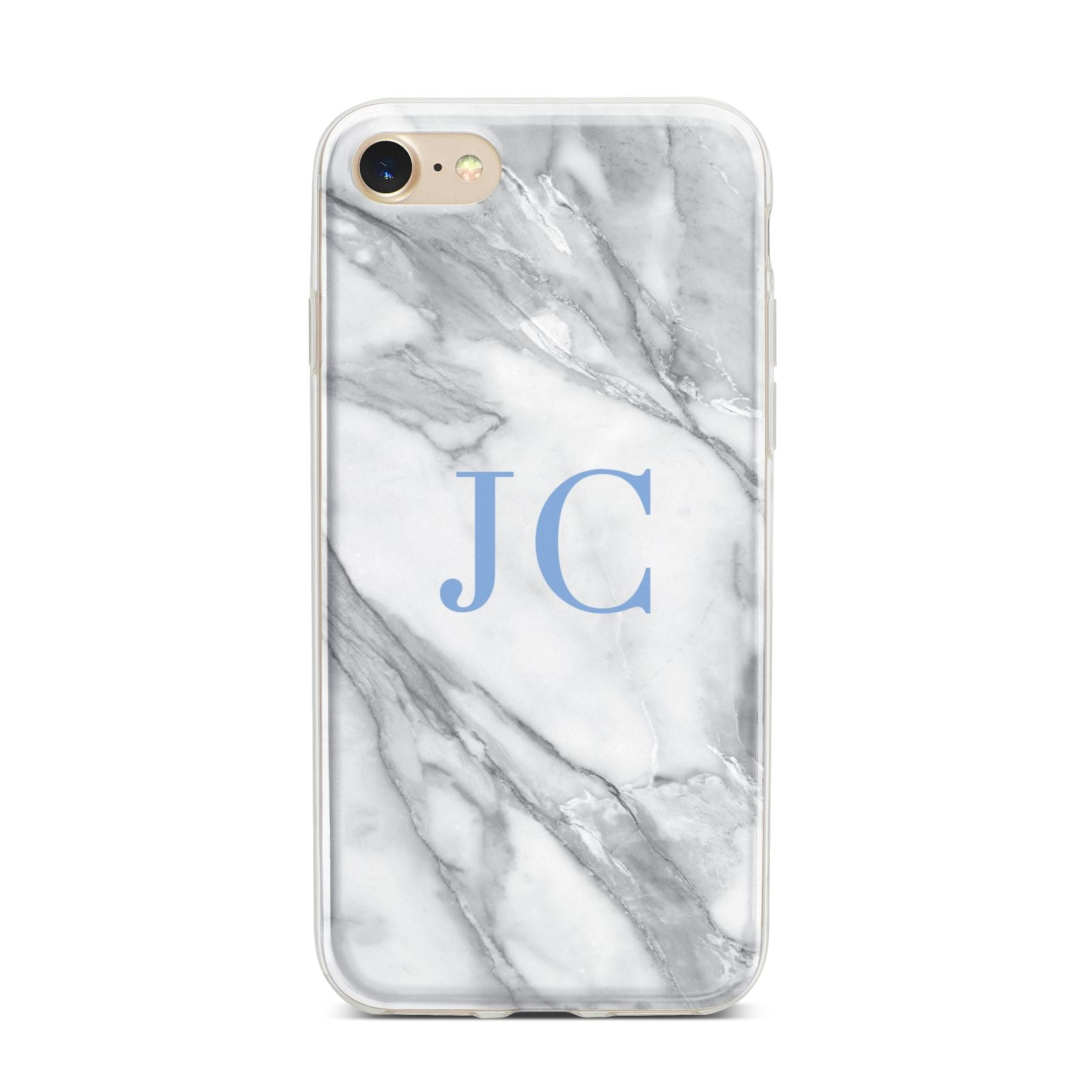 Grey Marble Blue Initials iPhone 7 Bumper Case on Gold iPhone