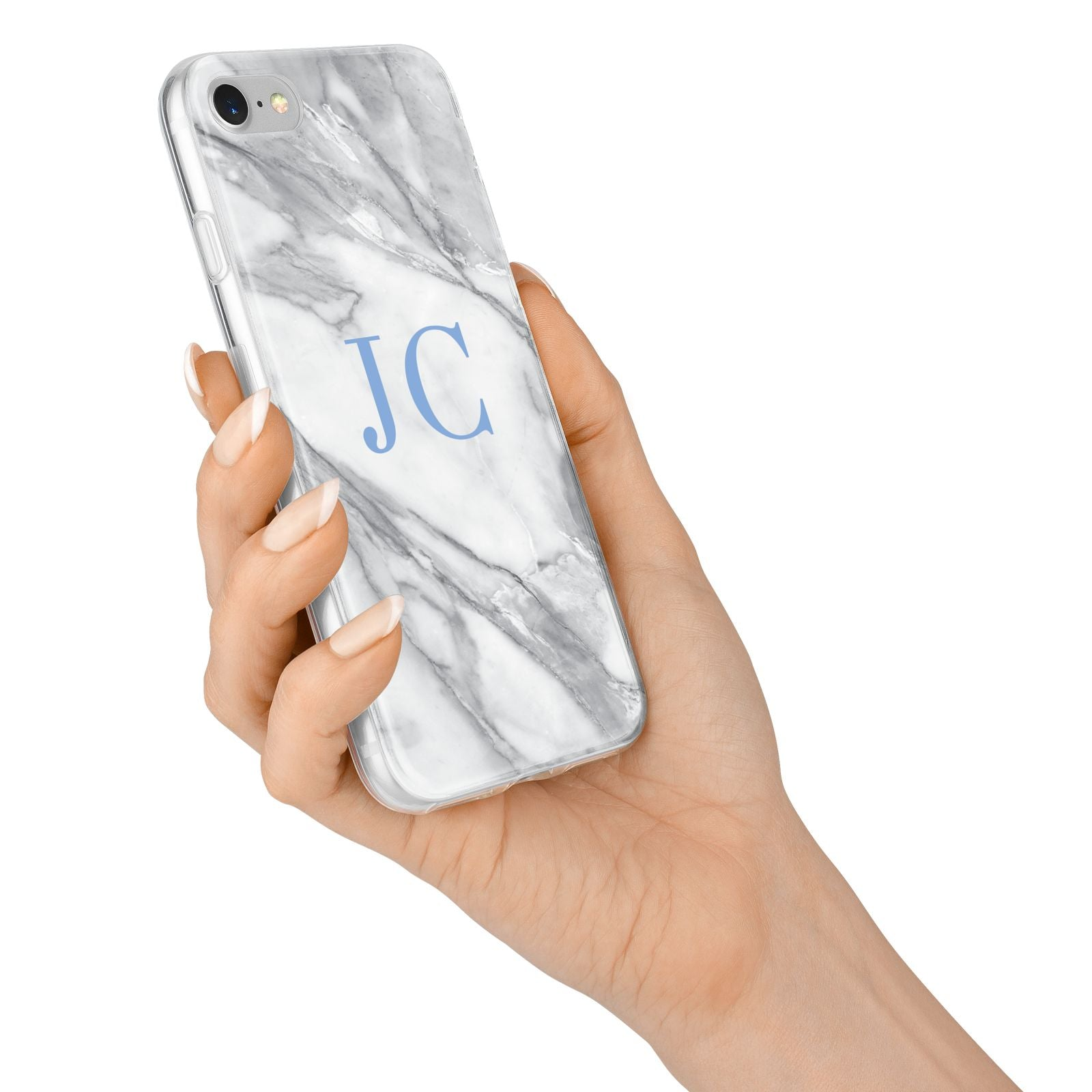 Grey Marble Blue Initials iPhone 7 Bumper Case on Silver iPhone Alternative Image