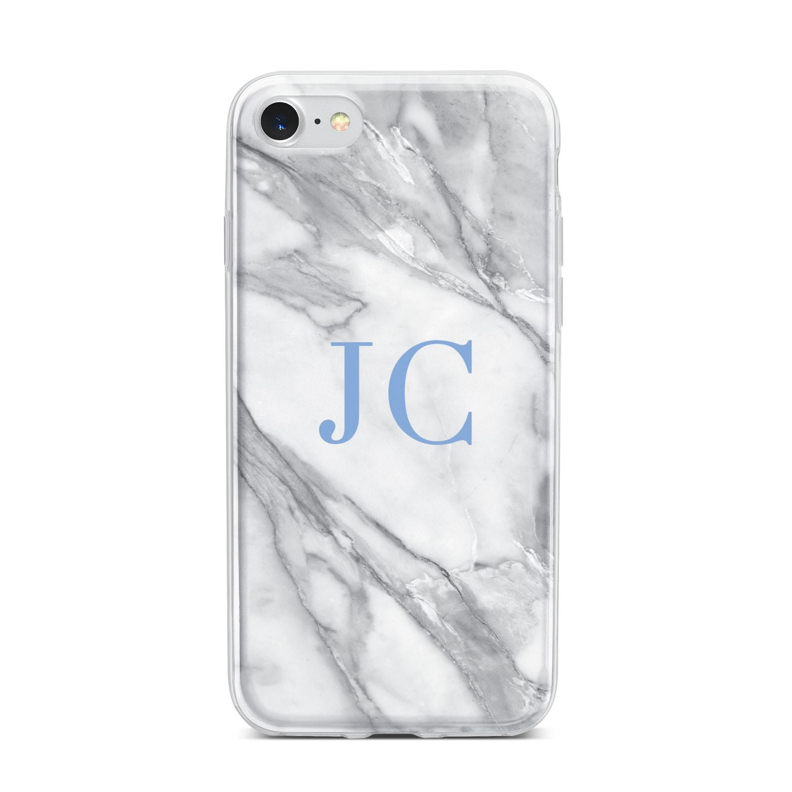 Grey Marble Blue Initials iPhone 7 Bumper Case on Silver iPhone