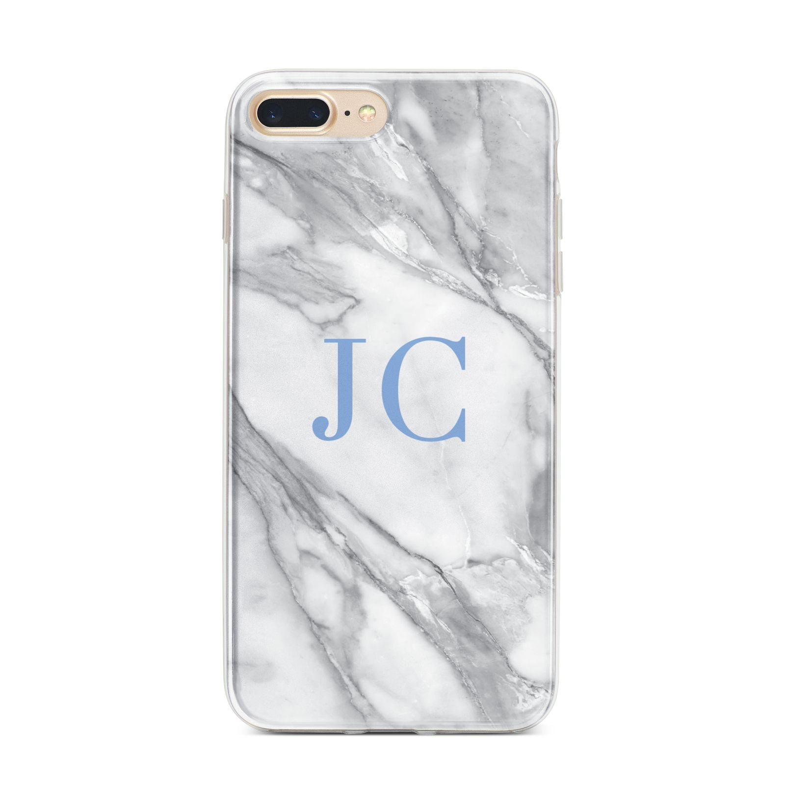 Grey Marble Blue Initials iPhone 7 Plus Bumper Case on Gold iPhone