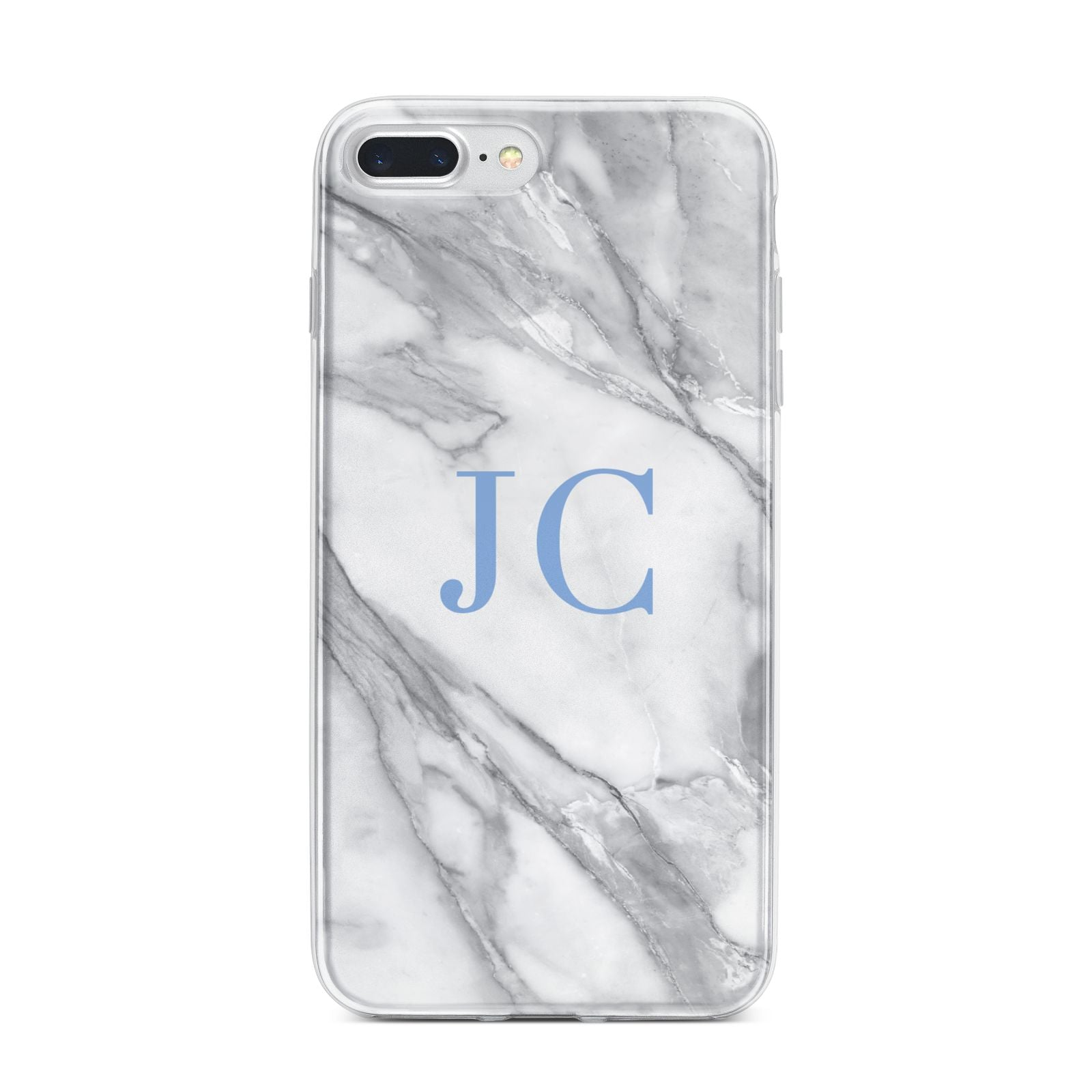 Grey Marble Blue Initials iPhone 7 Plus Bumper Case on Silver iPhone